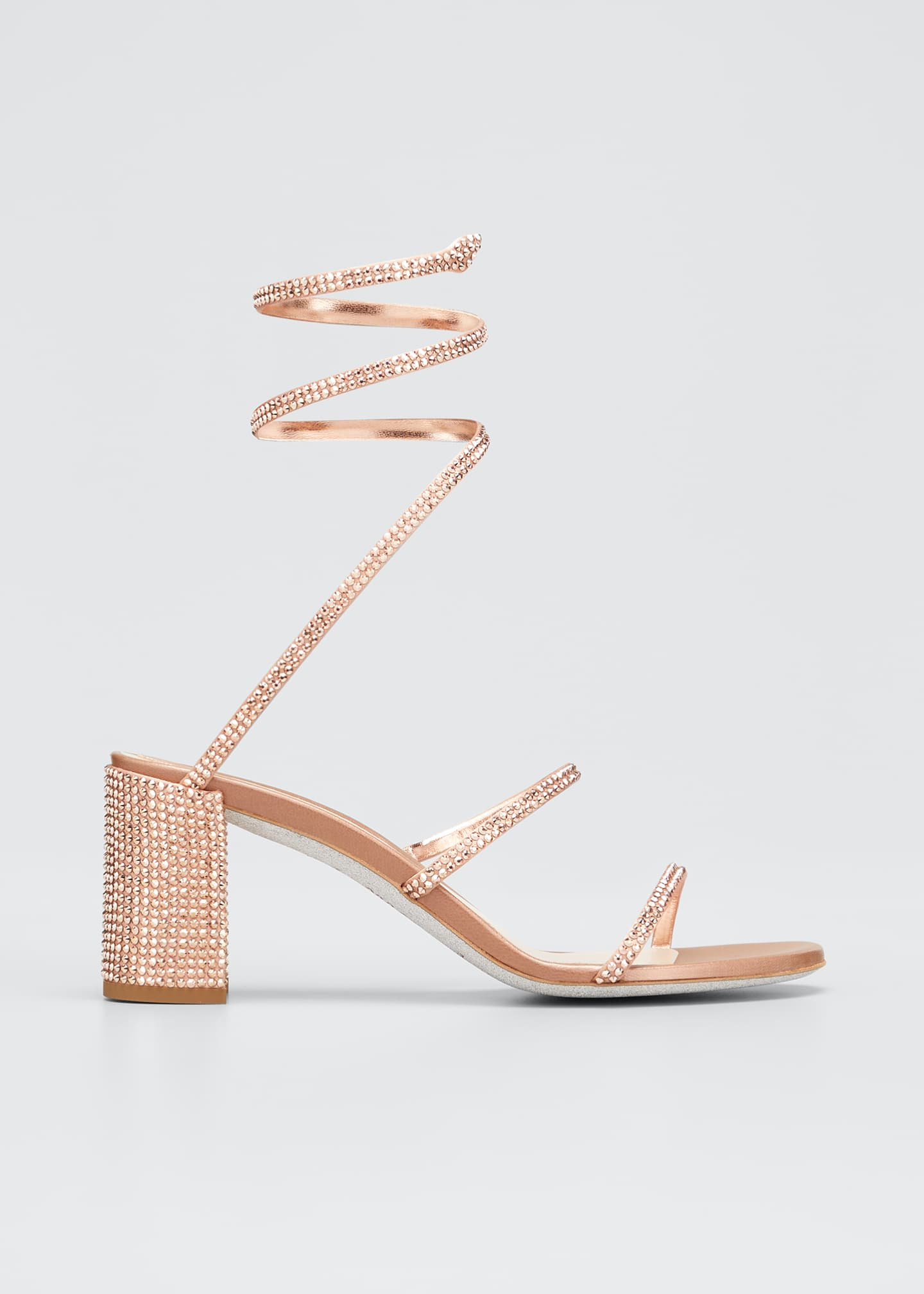 Image 1 of 5: Cleo 85mm Snake-Wrap Block-Heel Sandals