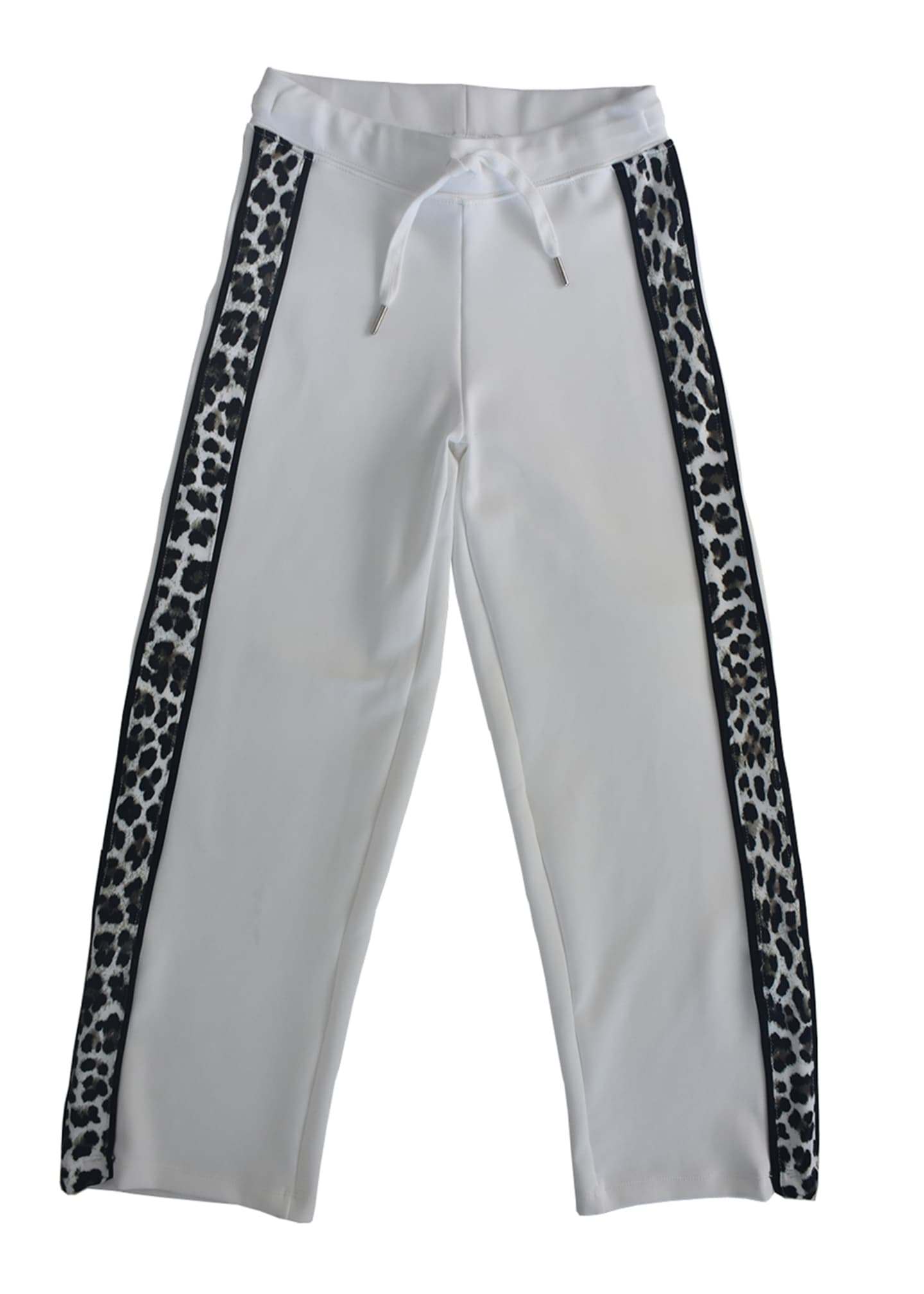 Image 1 of 3: Girl's Track Pants with Leopard-Print Sides, Size S-XL
