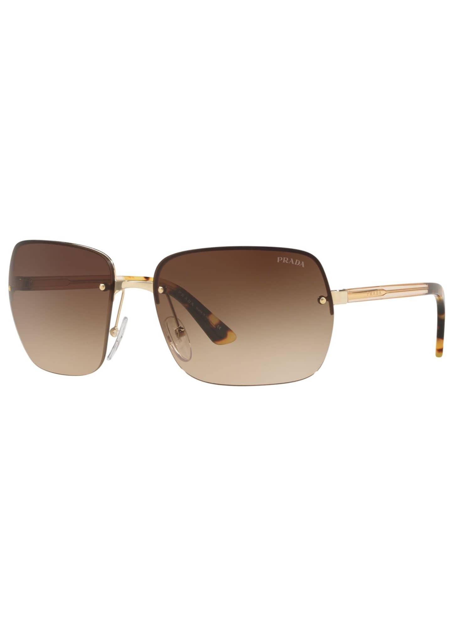 Prada Men's Rimless Gradient Square Sunglasses