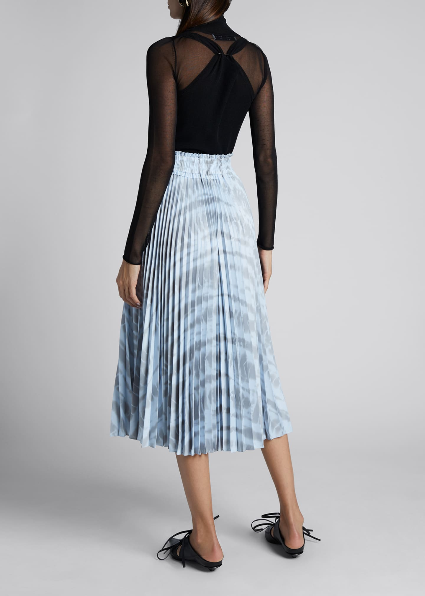 Image 2 of 3: Pleated Tie-Dye Midi Skirt