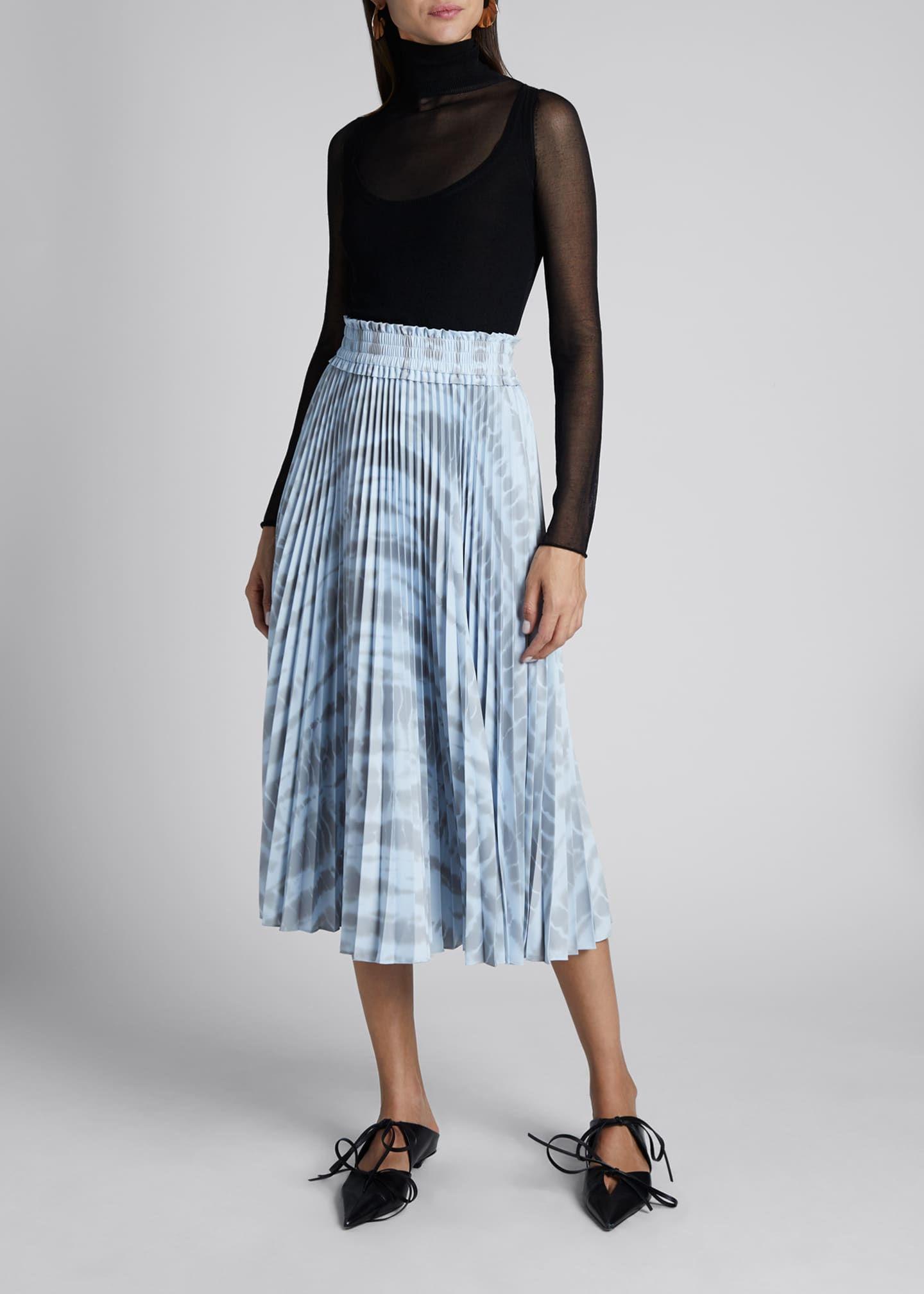 Pleated Tie-Dye Midi Skirt