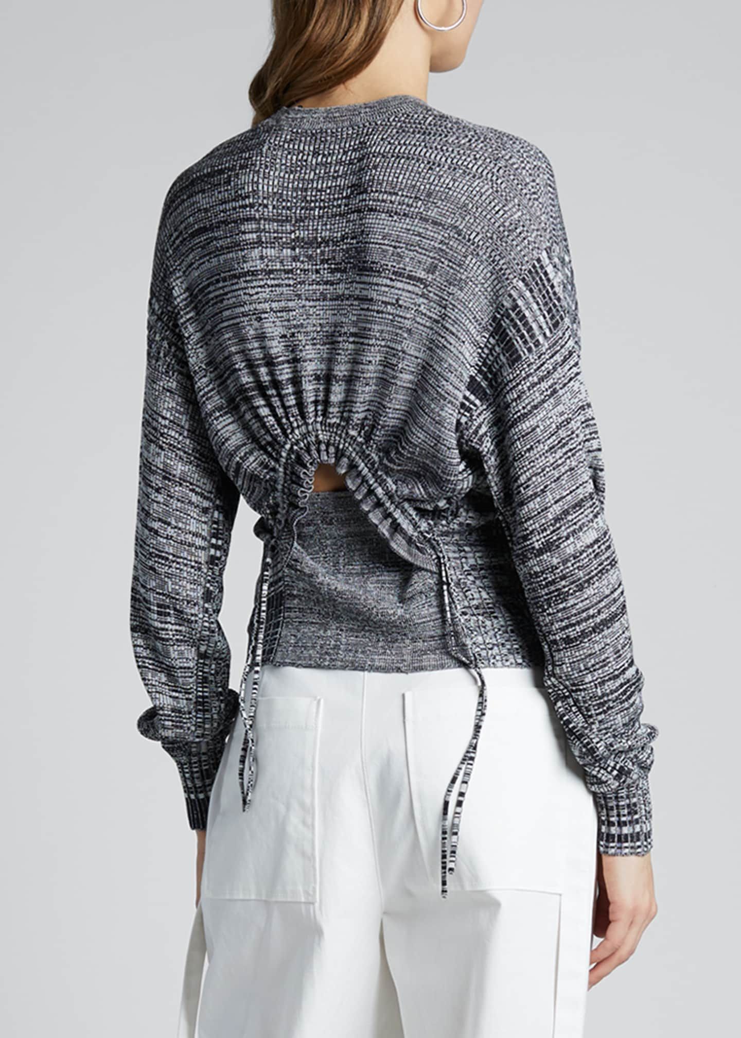 Image 2 of 3: Marled Crewneck Sweater with Ruched Back