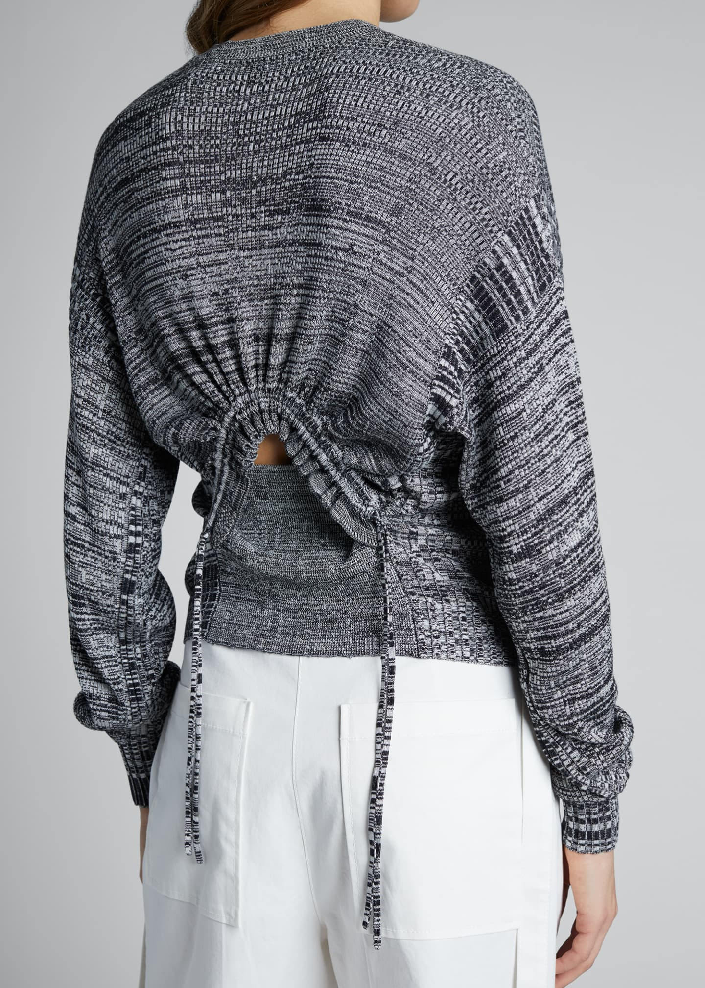 Image 3 of 3: Marled Crewneck Sweater with Ruched Back