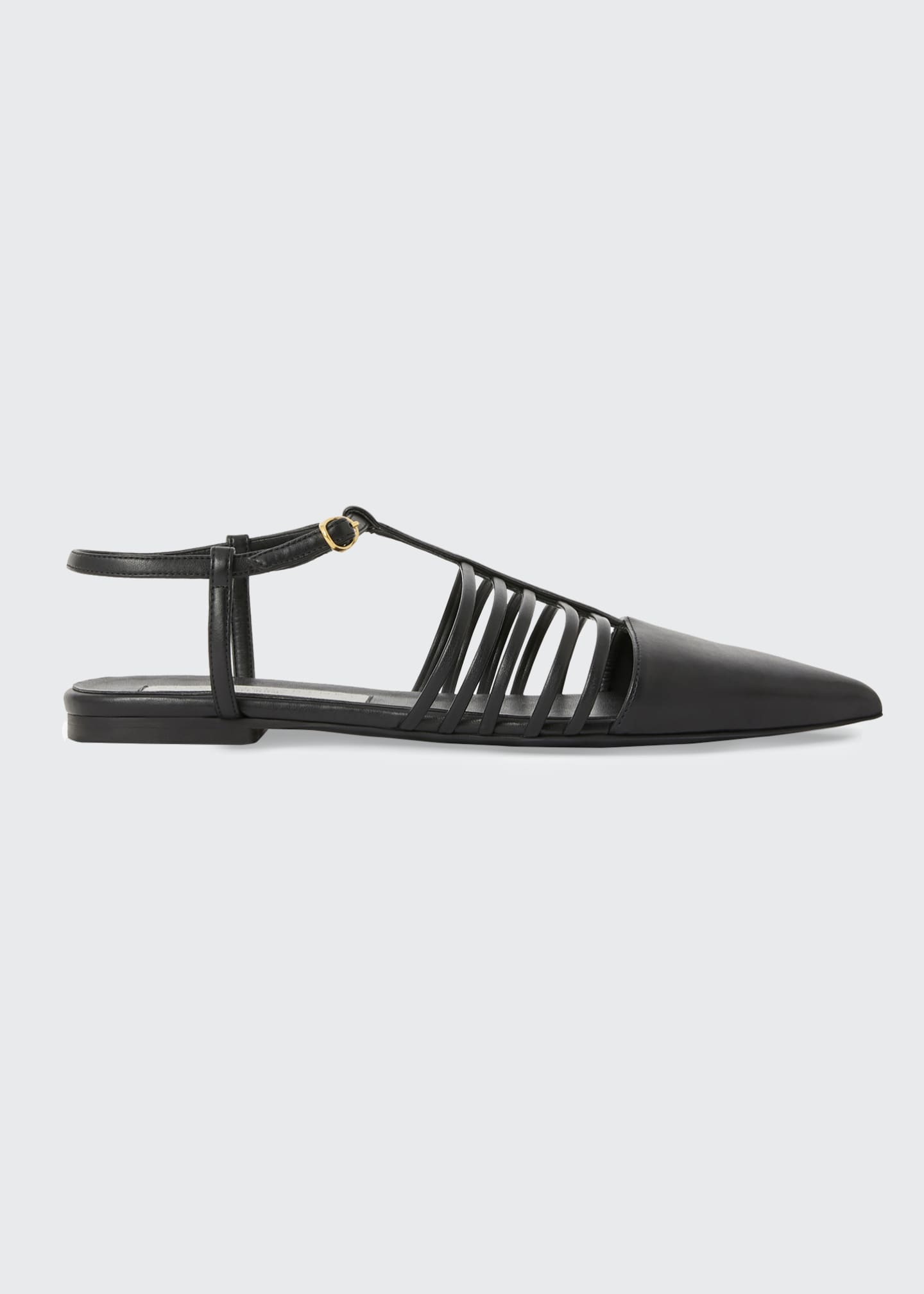 Image 1 of 4: Flat Point-Toe T-Strap Sandals