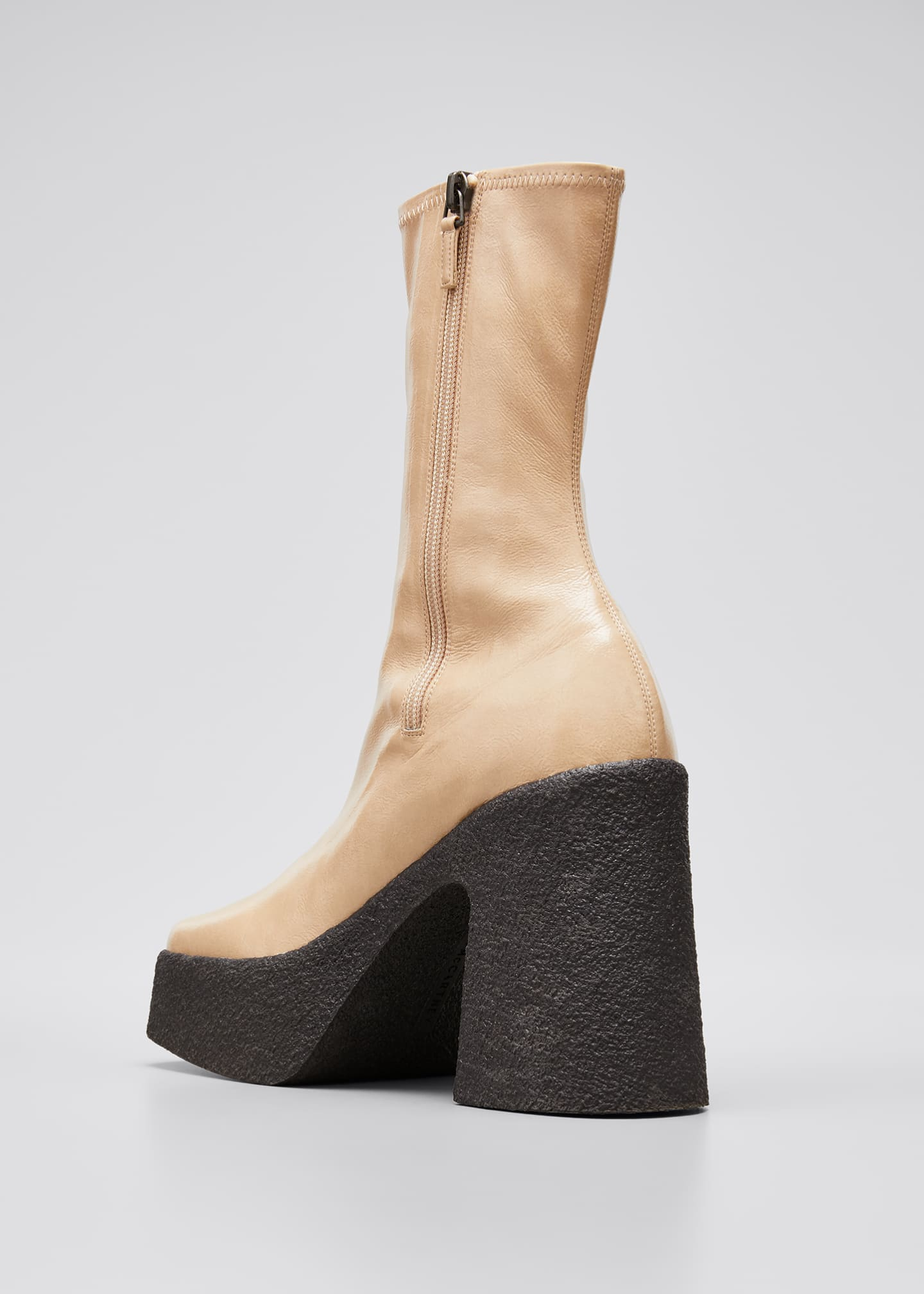 Image 2 of 3: Square-Toe Platform Booties