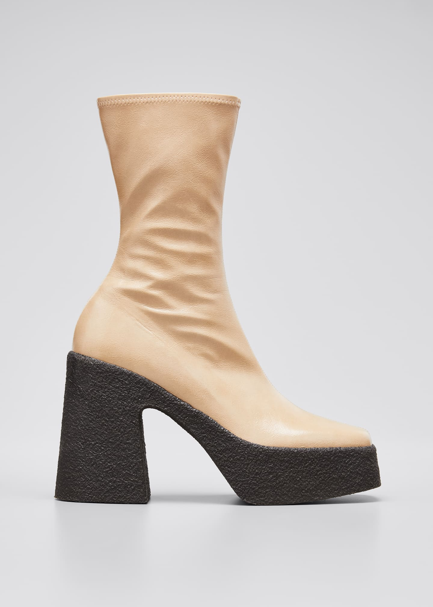 Image 1 of 3: Square-Toe Platform Booties