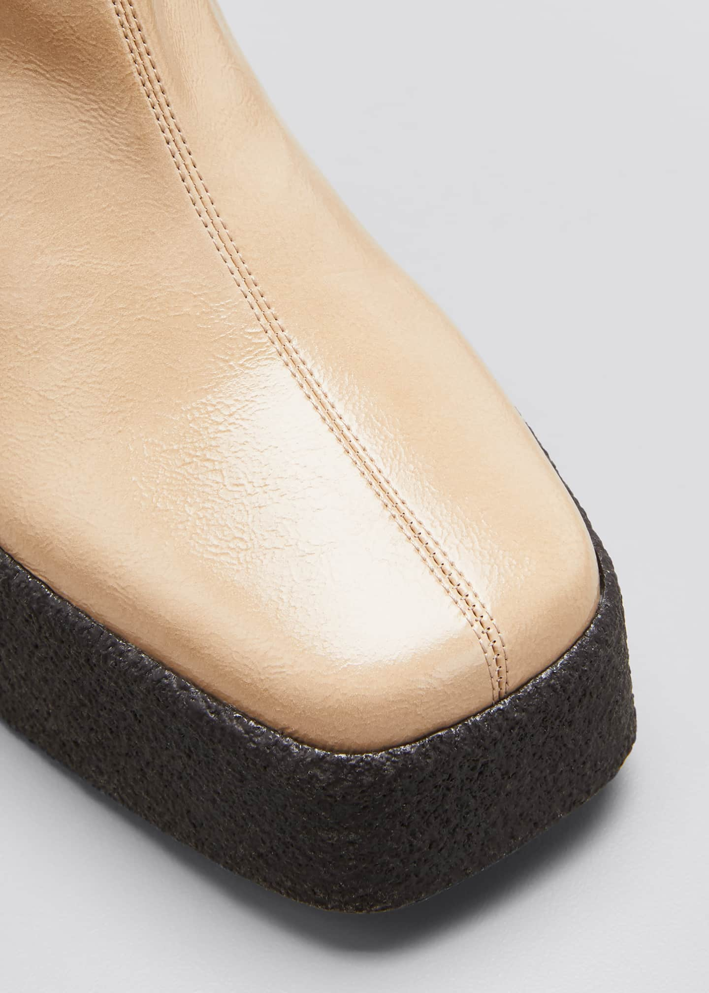 Image 3 of 3: Square-Toe Platform Booties