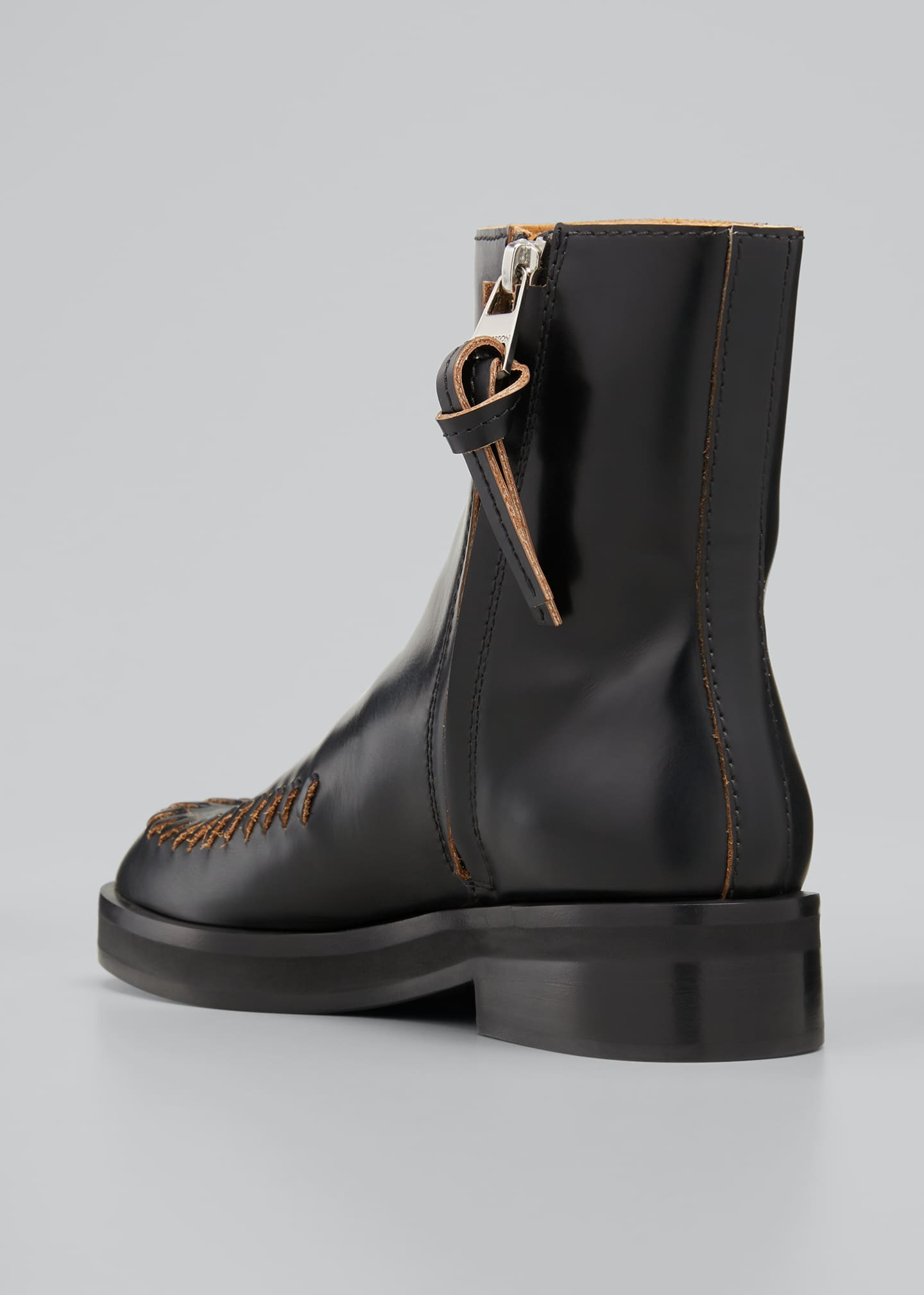 Image 2 of 3: Stitch-Detail Leather Ankle Boots