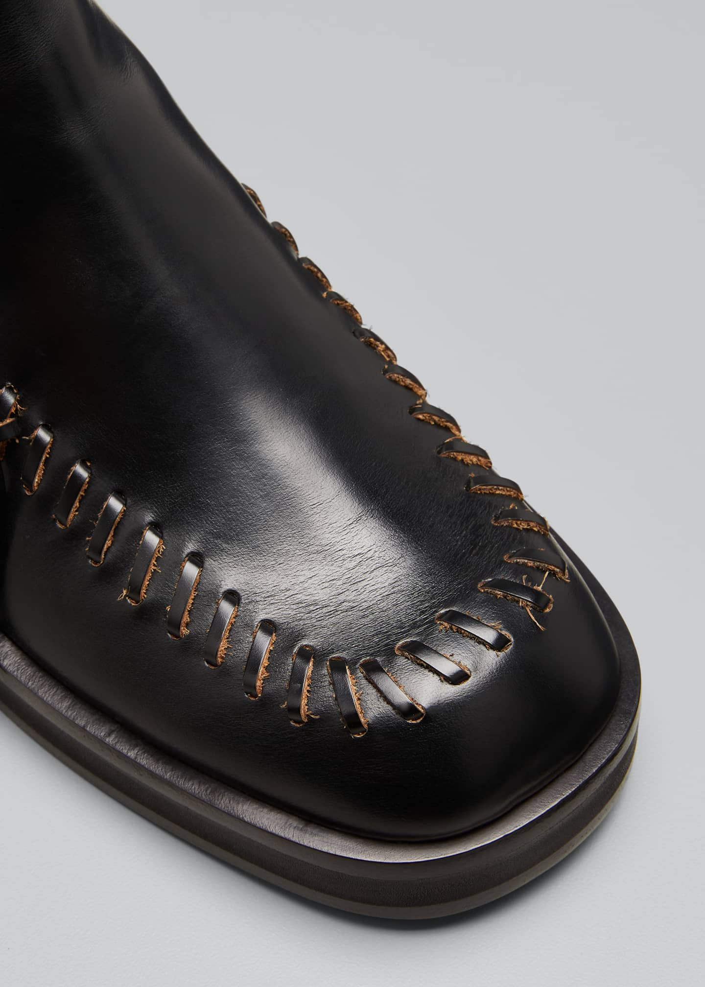 Image 3 of 3: Stitch-Detail Leather Ankle Boots