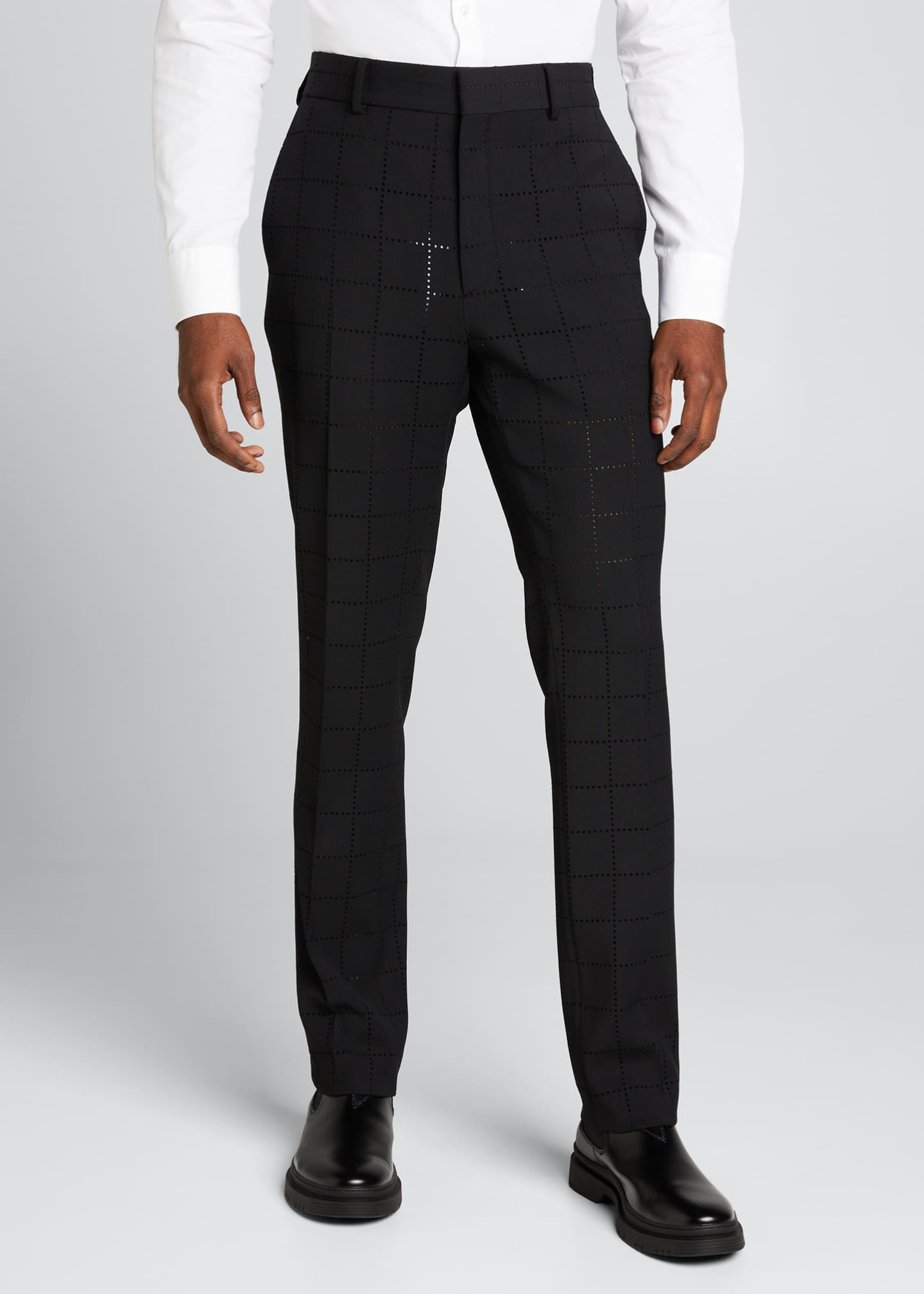 Image 3 of 5: Men's Punched Squares Dress Pants