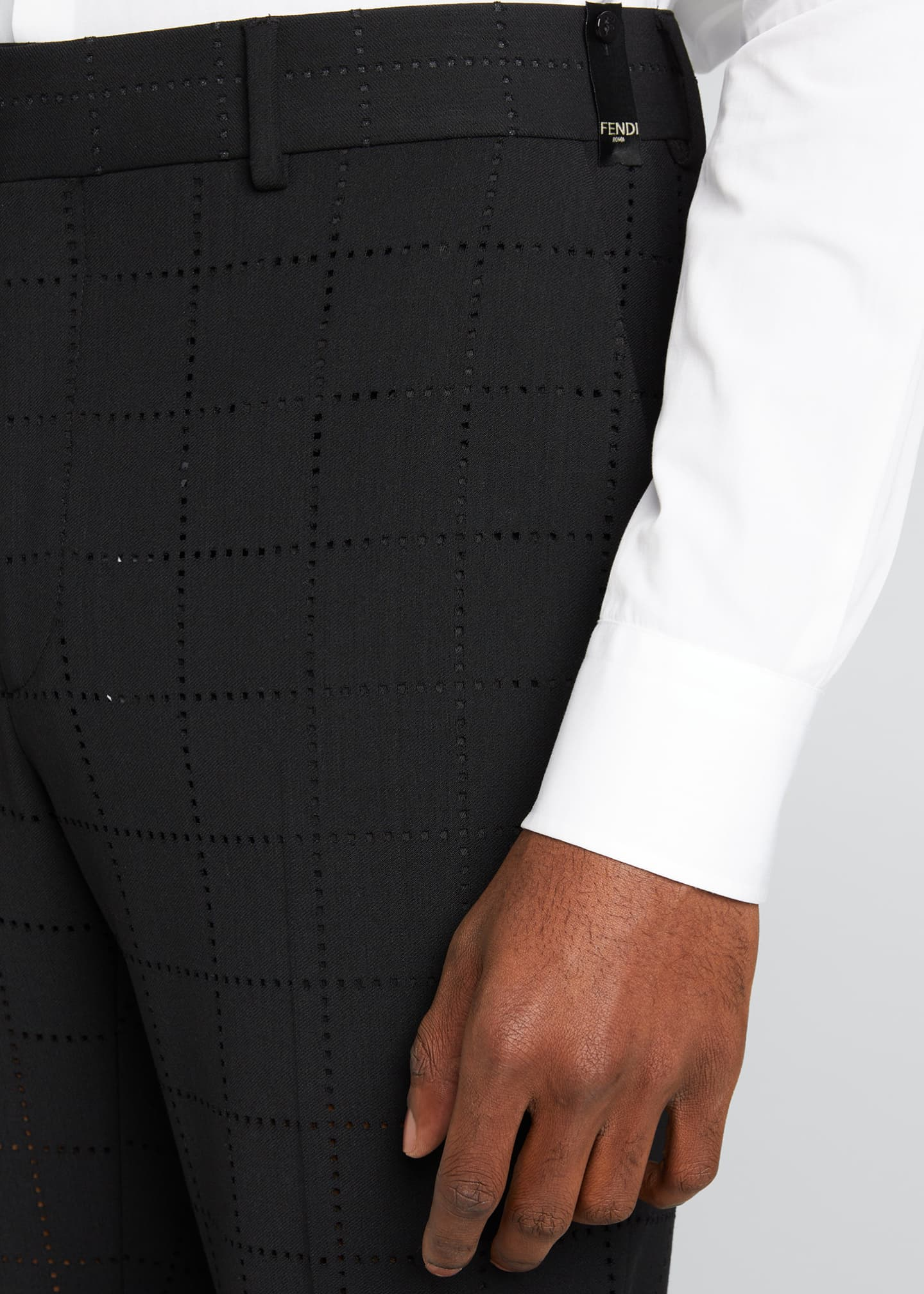 Image 4 of 5: Men's Punched Squares Dress Pants
