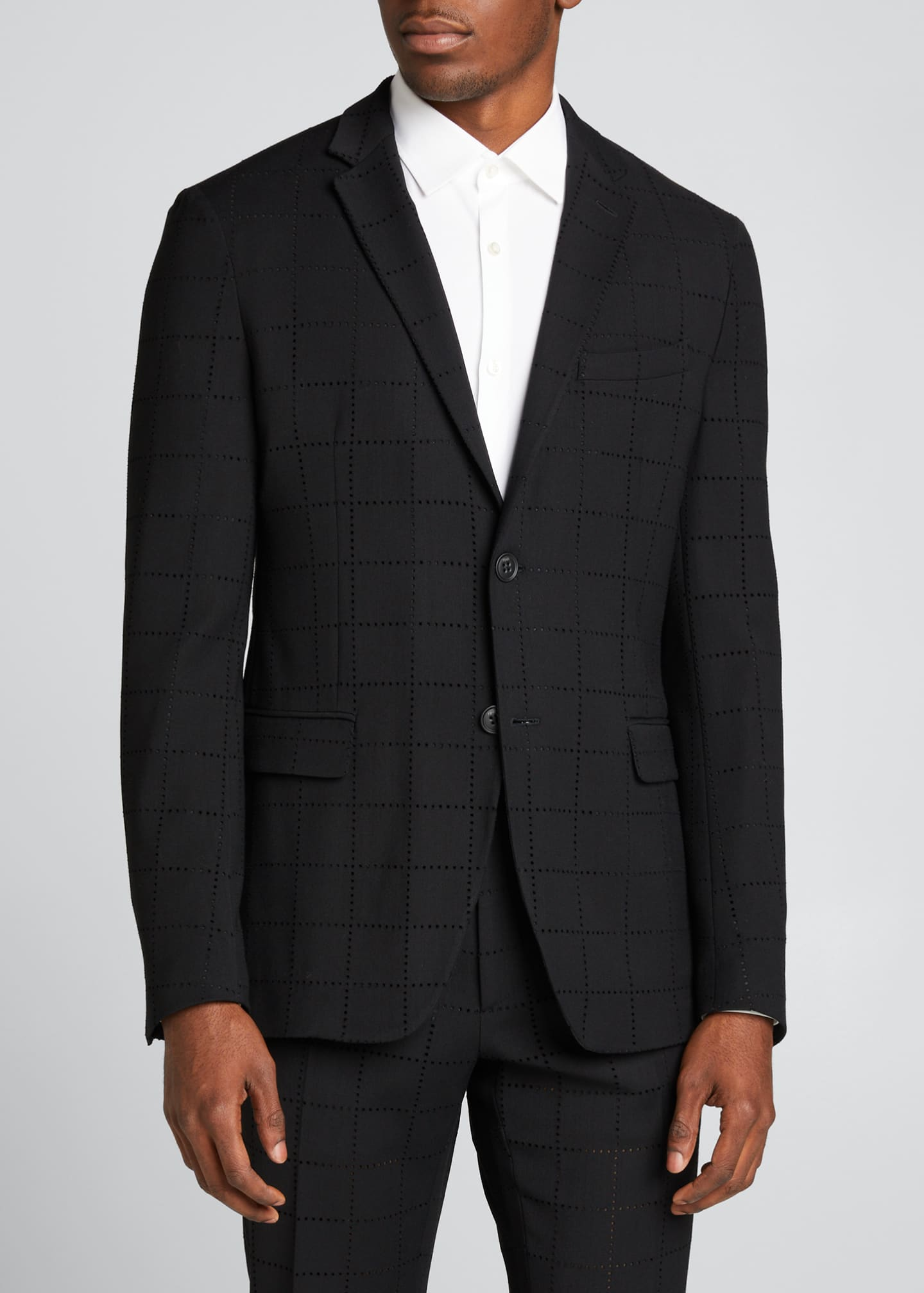 Image 3 of 5: Men's Punched Squares Suit Jacket