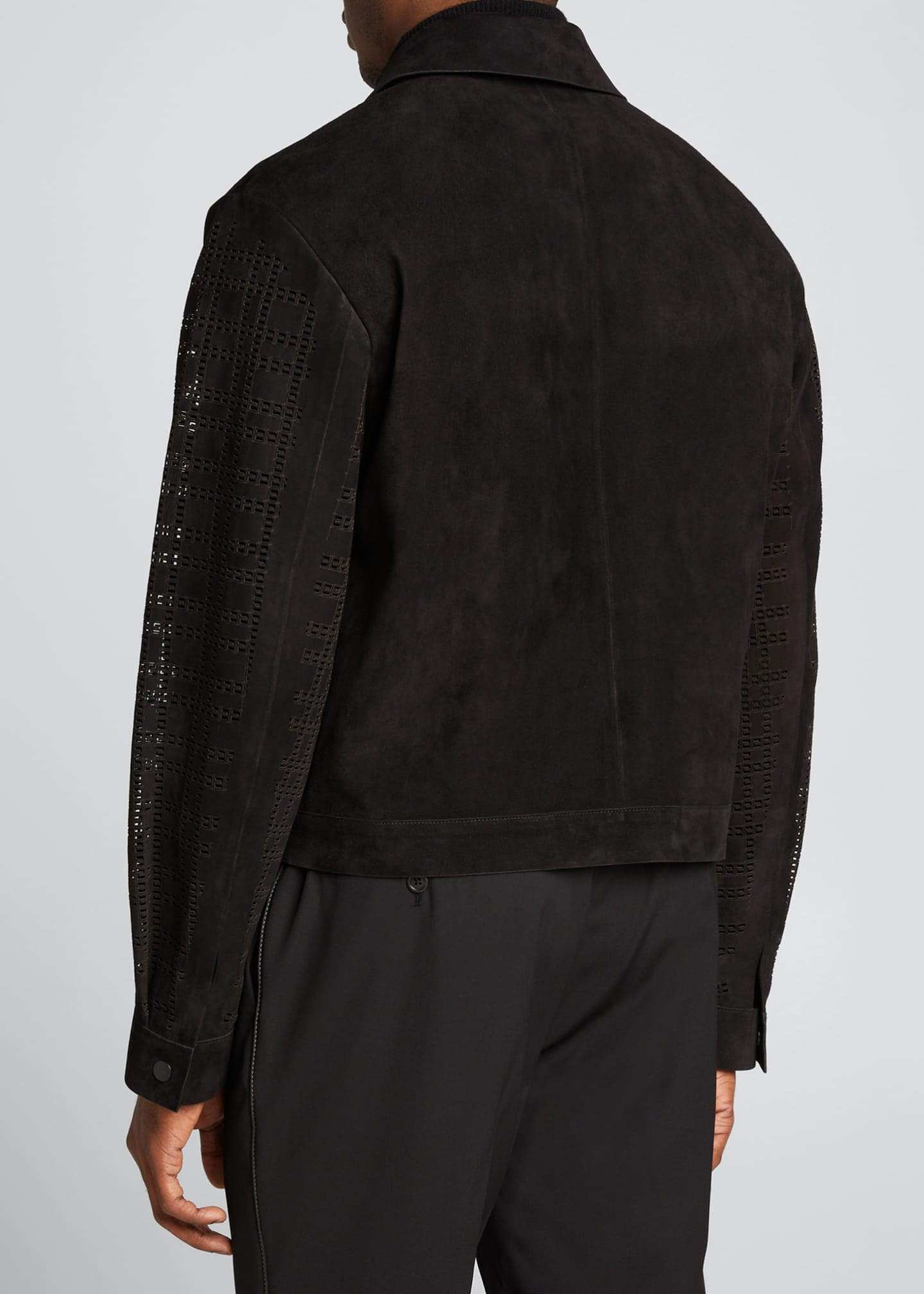 Image 2 of 5: Men's FF Laser-Cut Suede Jacket