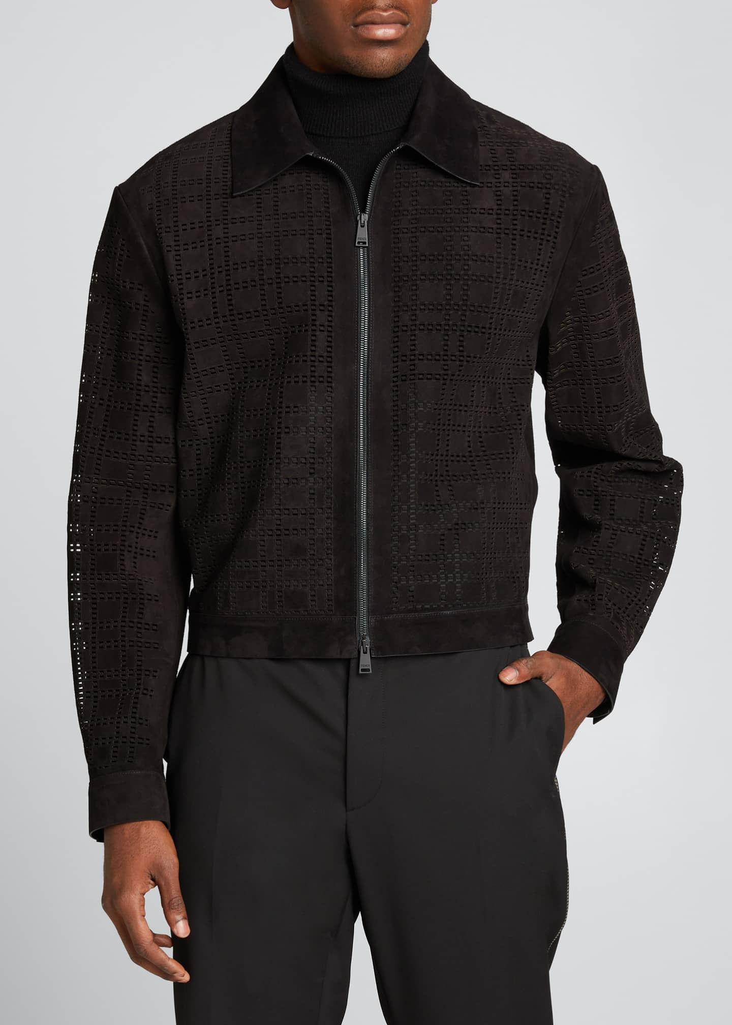 Image 3 of 5: Men's FF Laser-Cut Suede Jacket