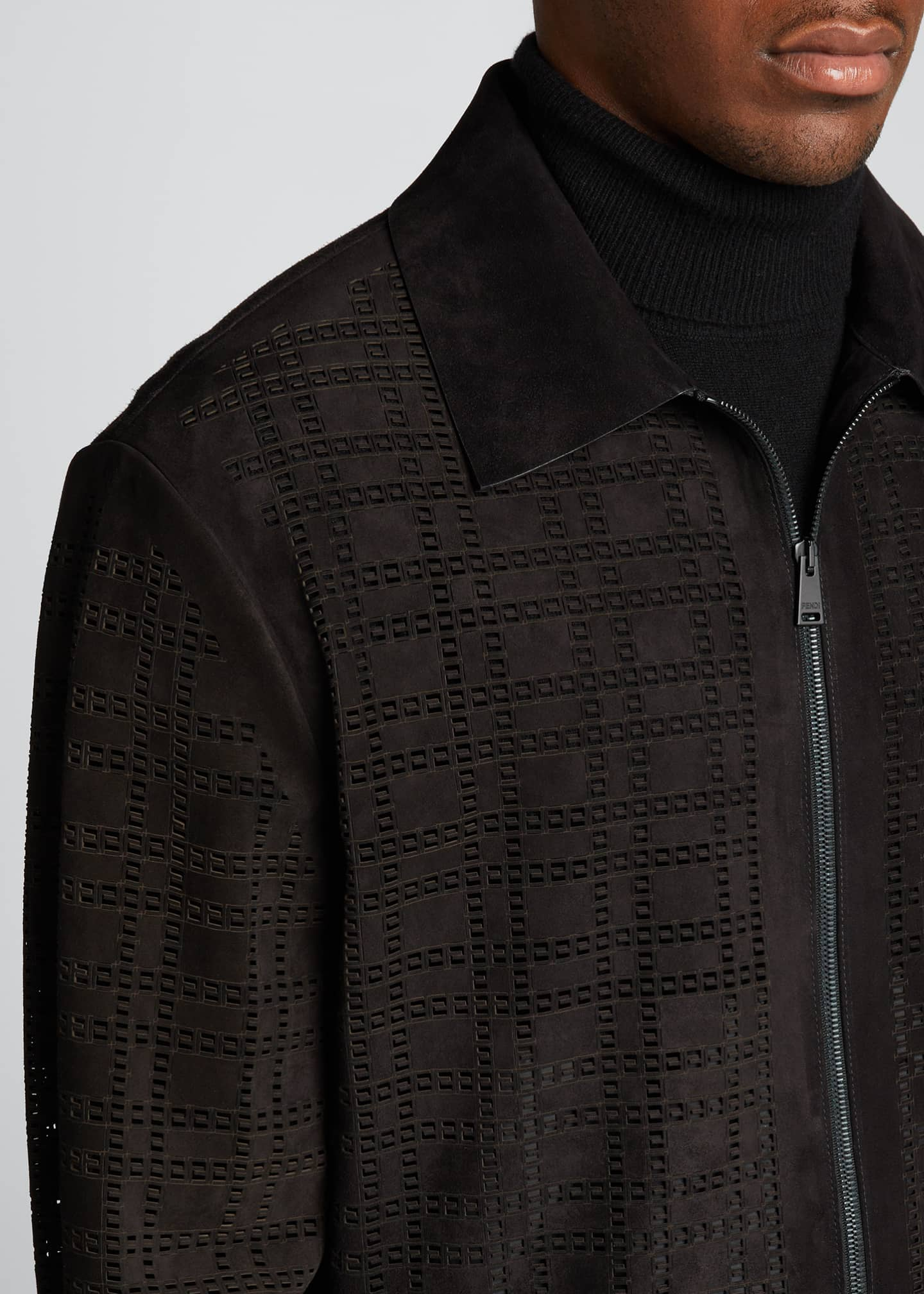 Image 4 of 5: Men's FF Laser-Cut Suede Jacket