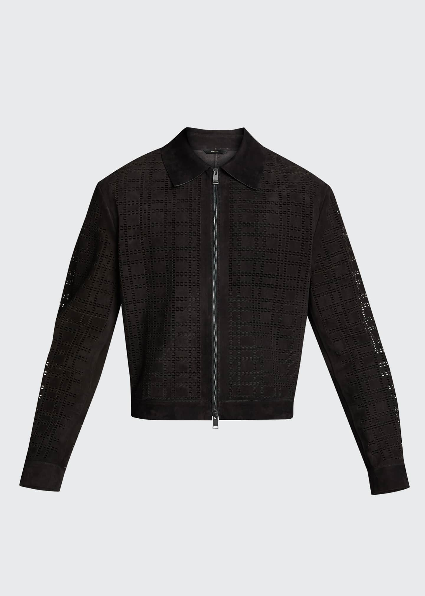 Image 5 of 5: Men's FF Laser-Cut Suede Jacket