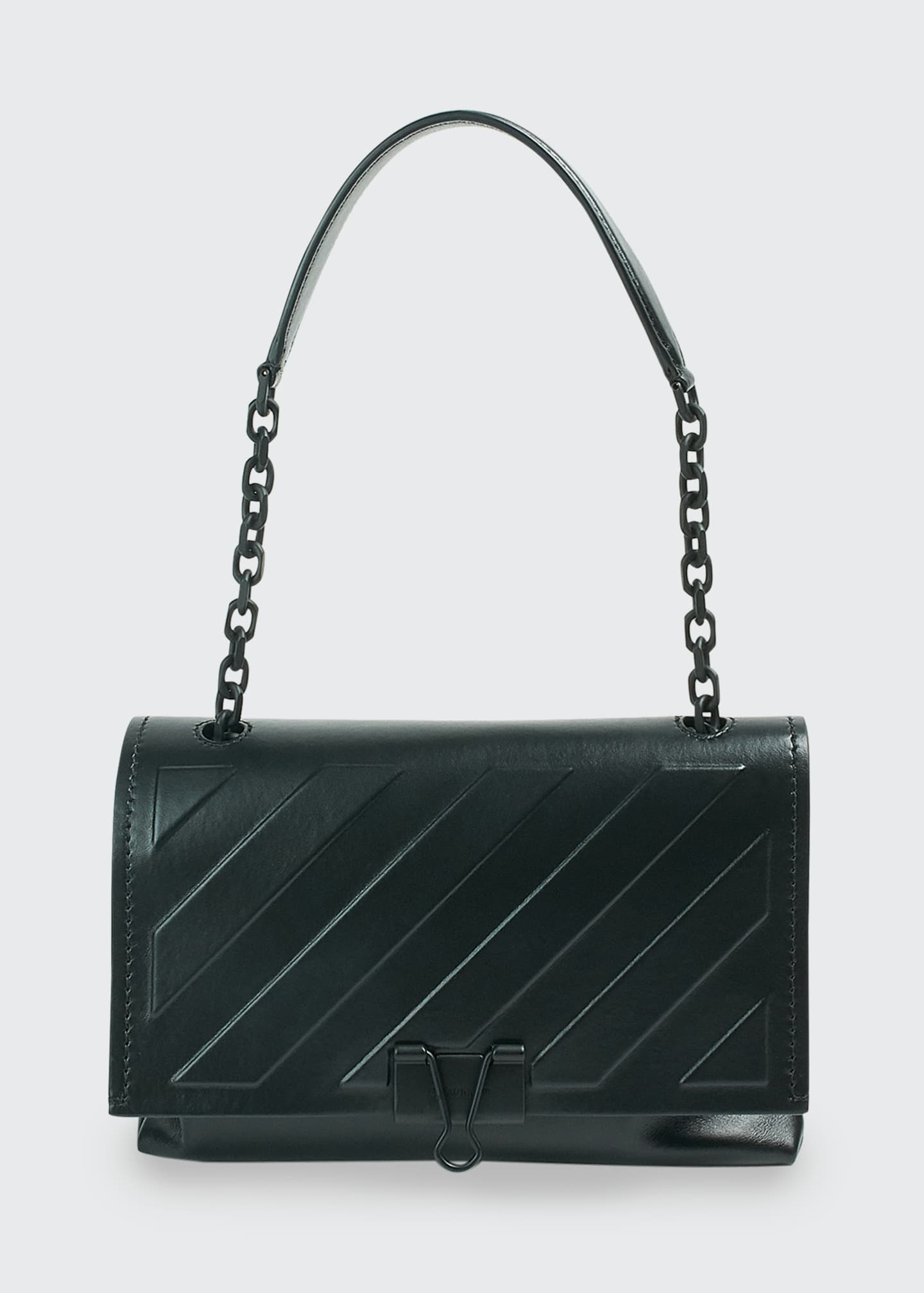 Image 1 of 1: Diagonal Medium Chain Crossbody Bag, Black