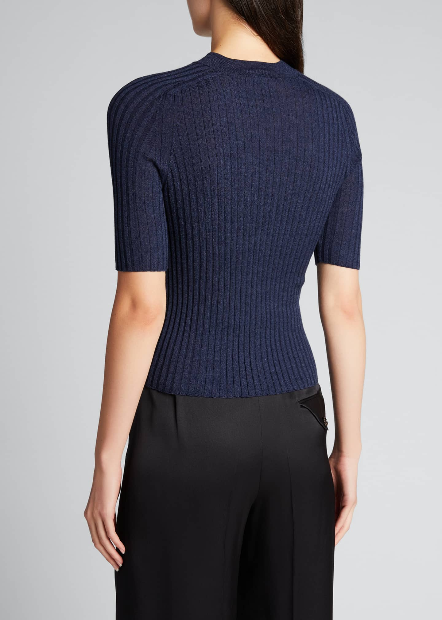 Image 2 of 5: Skinny Ribbed Mock-Neck Wool-Blend Top