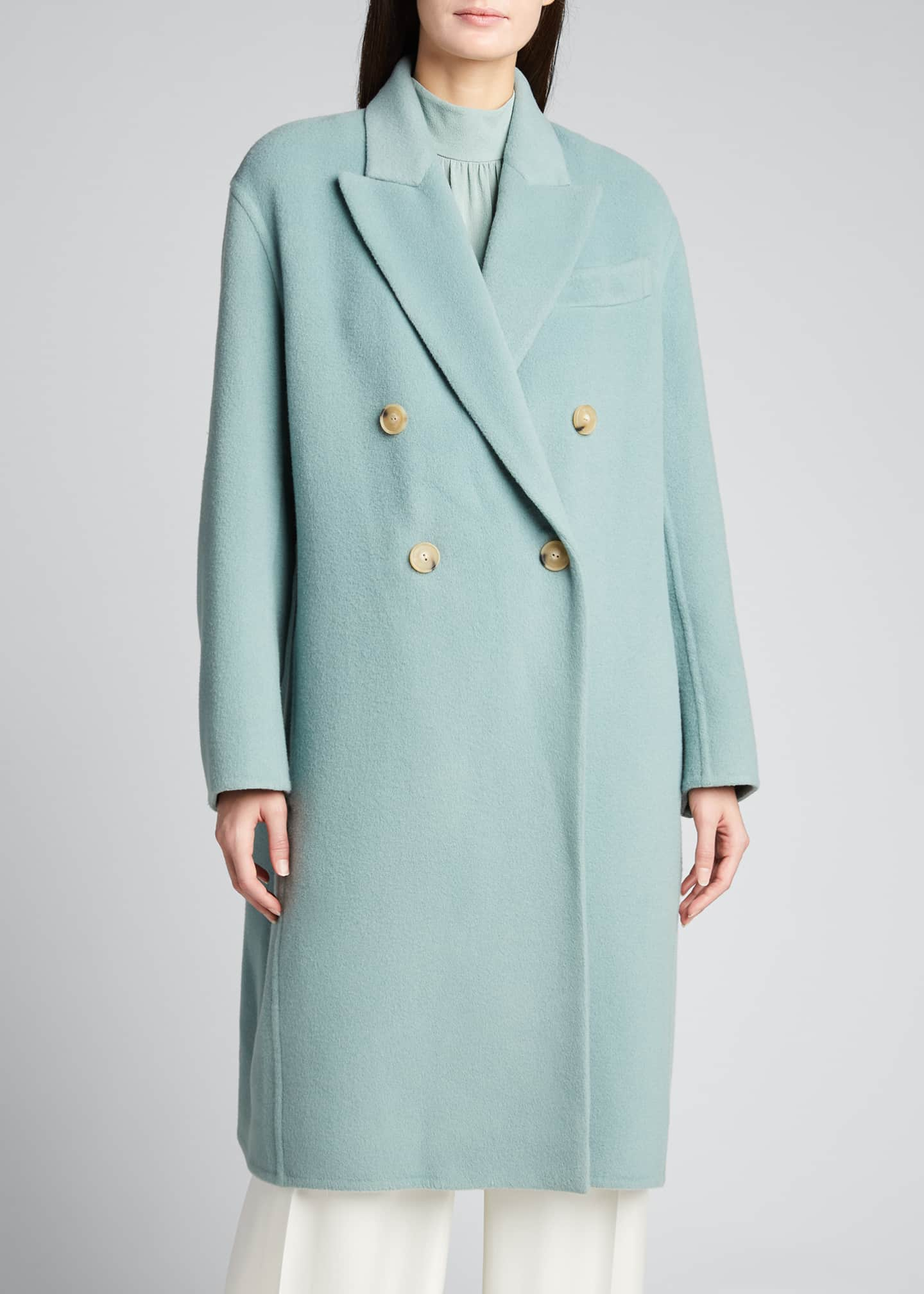 Image 3 of 5: Double-Breasted Oversized Wool-Blend Coat