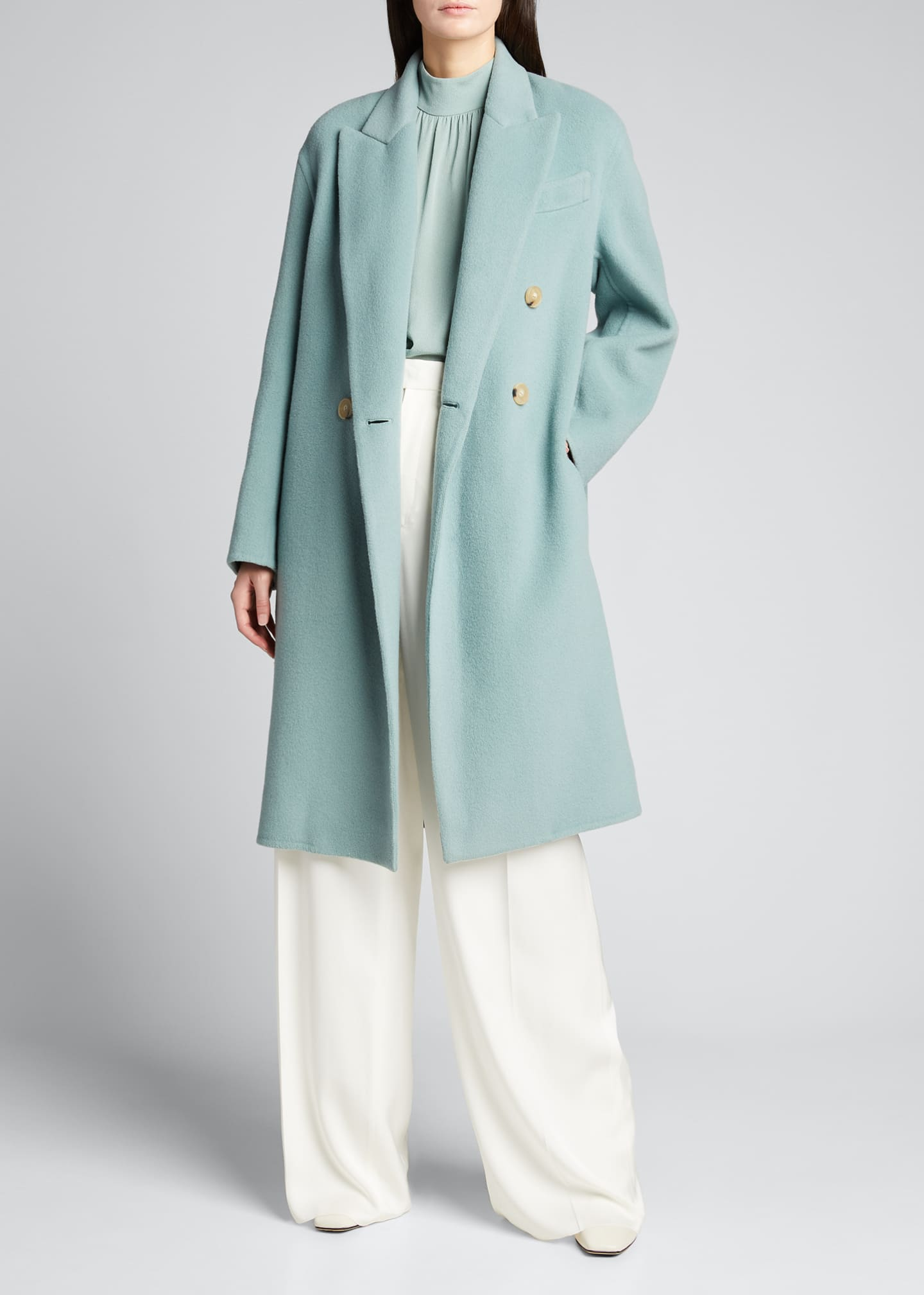 Image 1 of 5: Double-Breasted Oversized Wool-Blend Coat