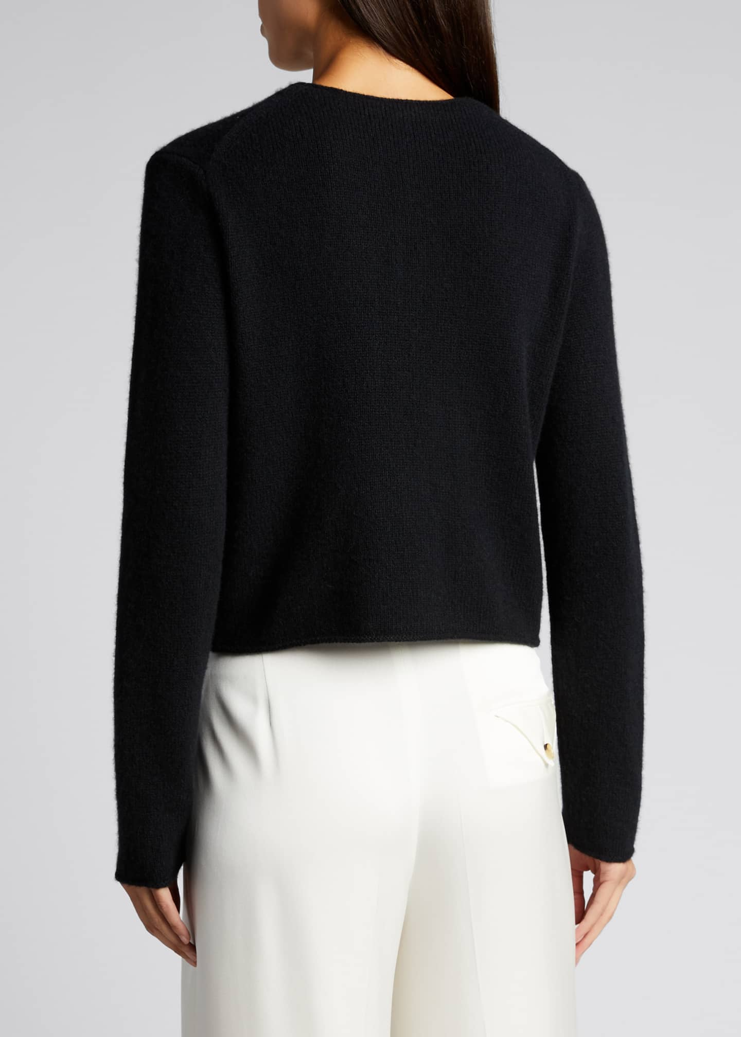 Image 2 of 5: Crewneck Button-Front Cashmere Cardigan
