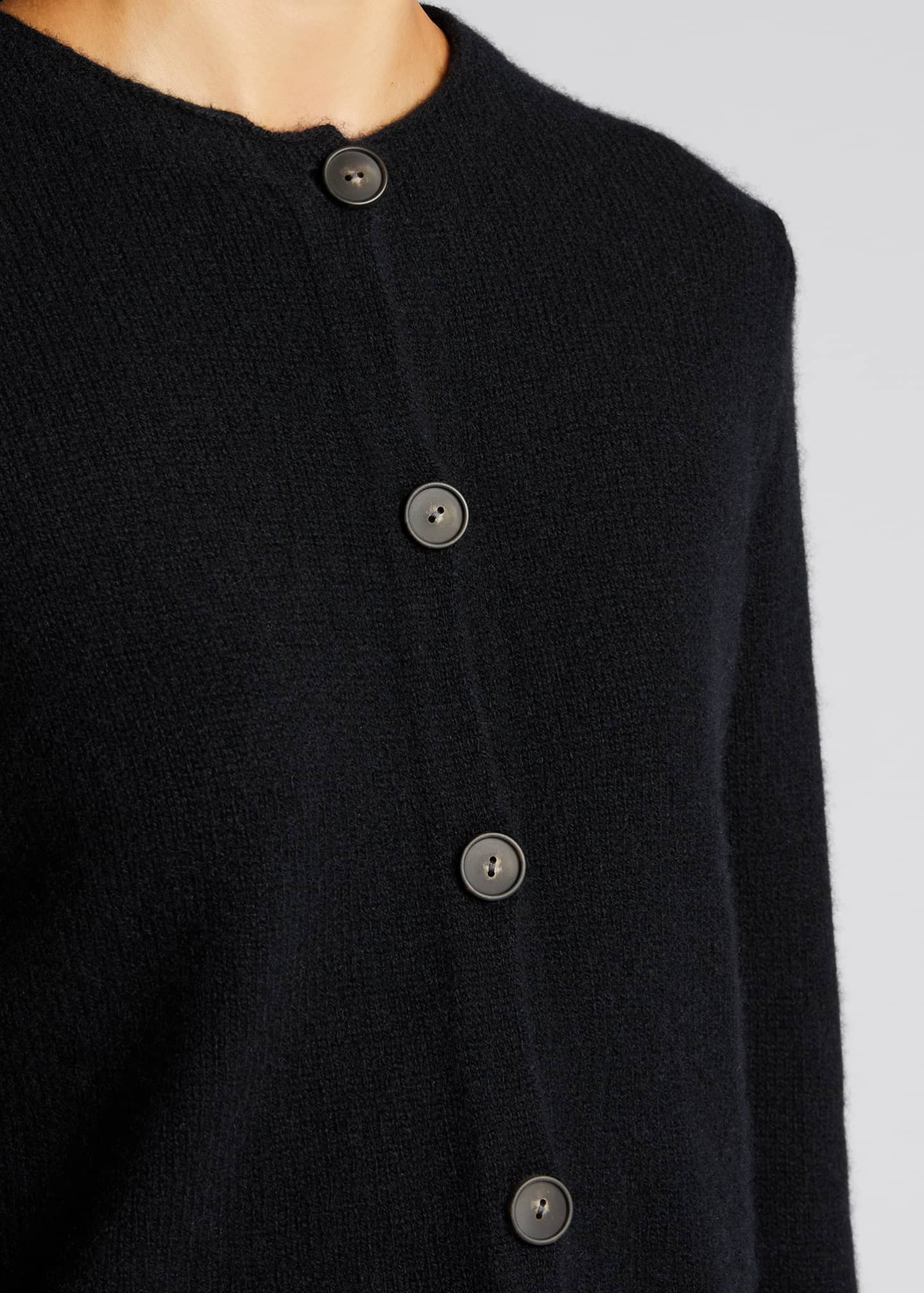 Image 4 of 5: Crewneck Button-Front Cashmere Cardigan