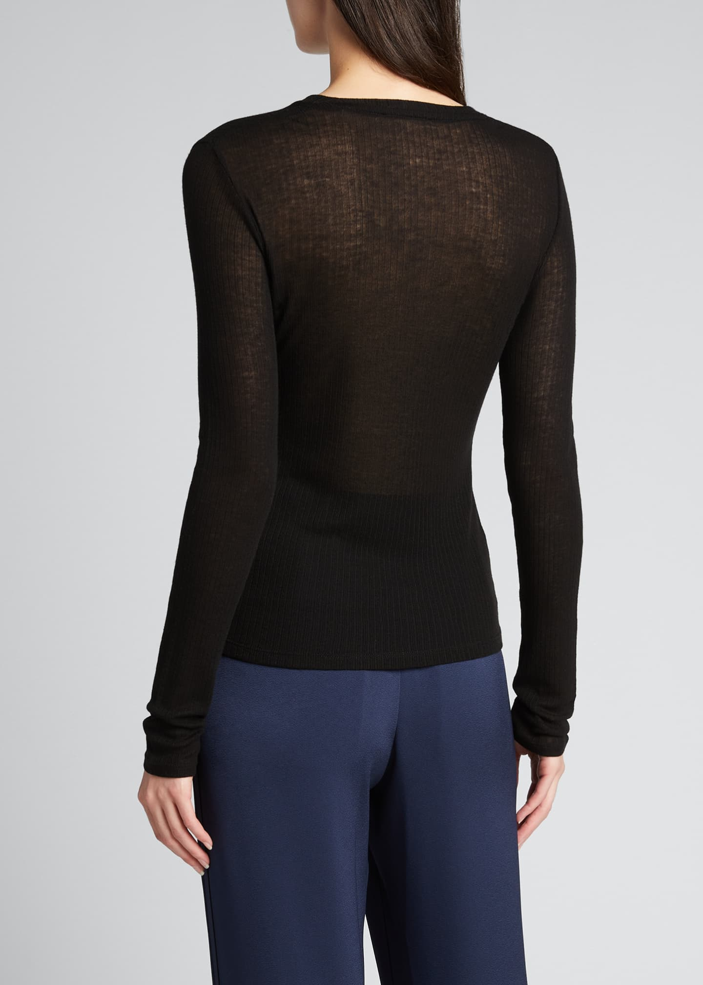 Image 2 of 5: Ribbed Long-Sleeve Crewneck Top