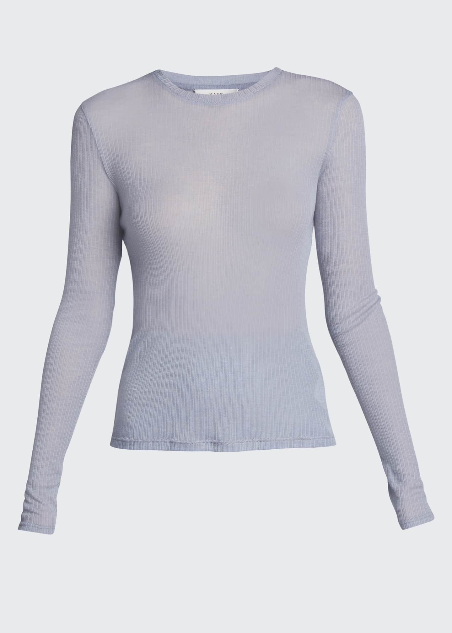 Image 5 of 5: Ribbed Long-Sleeve Crewneck Top