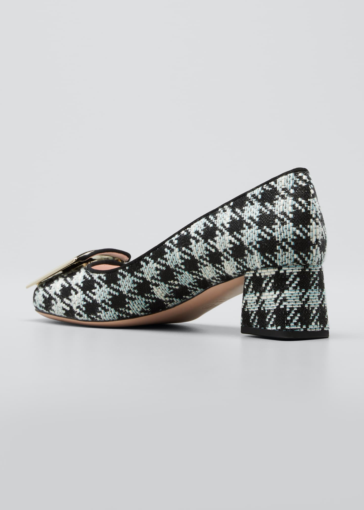 Image 4 of 5: Tres Vivier 45mm Houndstooth Buckle Pumps