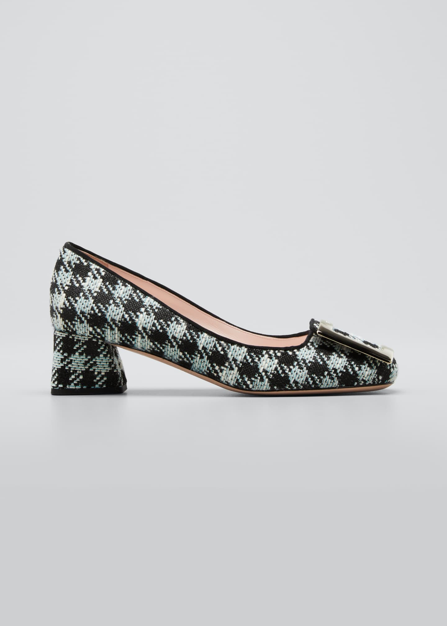 Image 1 of 5: Tres Vivier 45mm Houndstooth Buckle Pumps