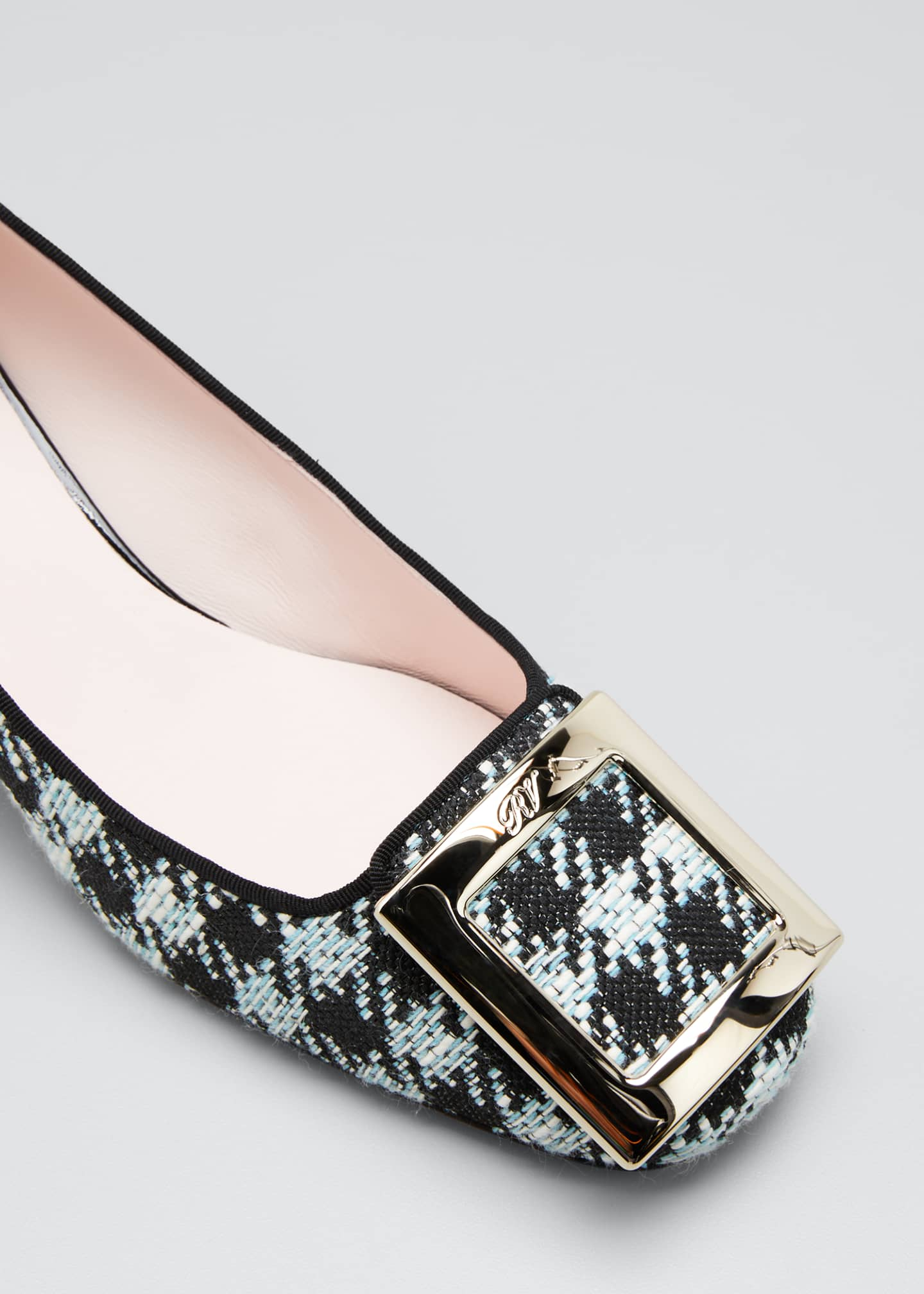 Image 5 of 5: Tres Vivier 45mm Houndstooth Buckle Pumps