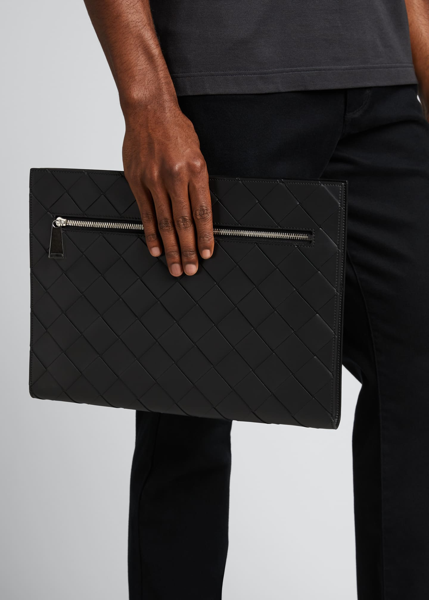 Image 2 of 5: Men's Large Woven Leather Portfolio Case