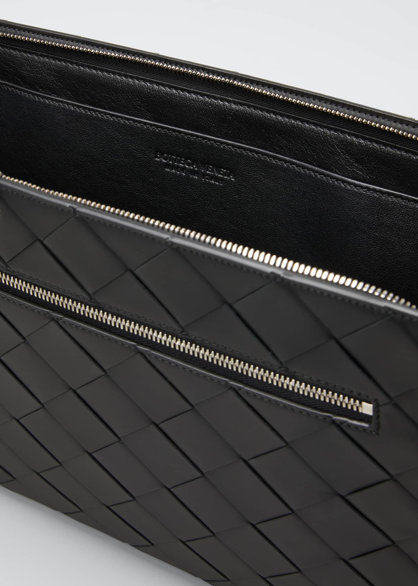 Image 4 of 5: Men's Large Woven Leather Portfolio Case