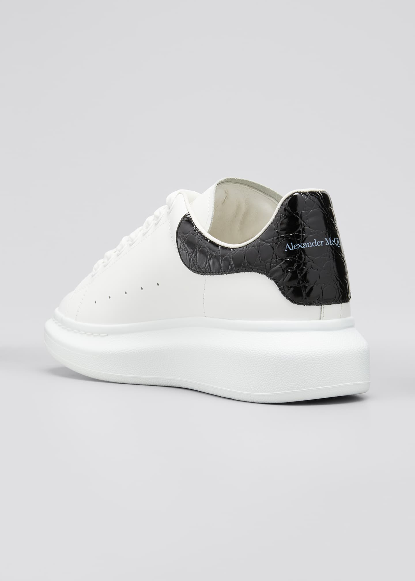 Image 4 of 5: Men's Leather Sneakers w/ Croc-Print Back