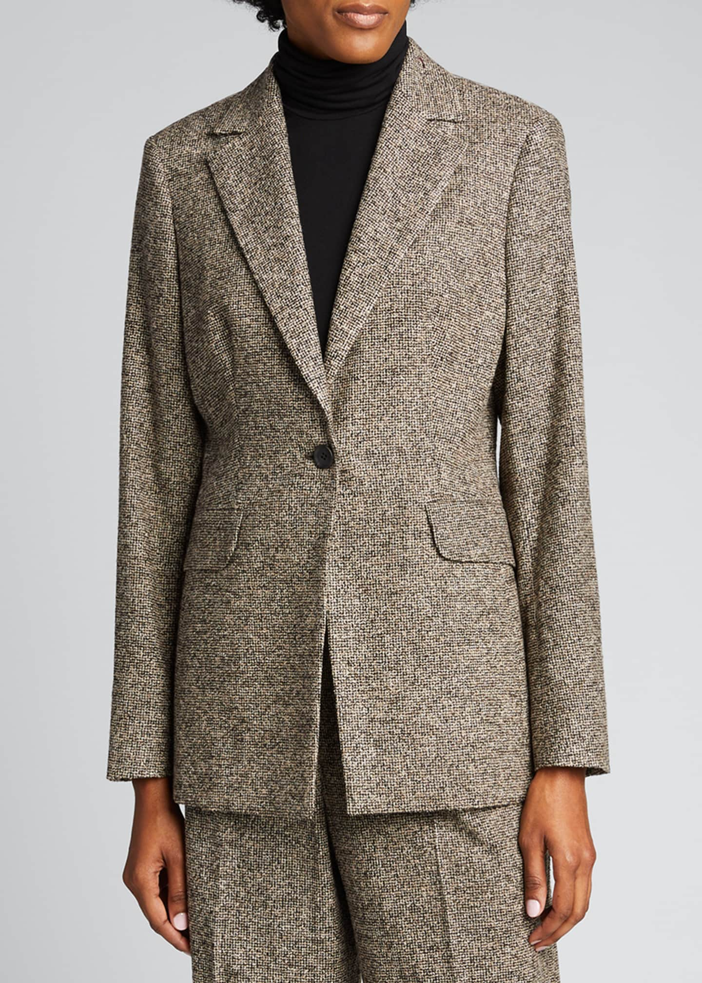 Image 3 of 5: Fitted One-Button Wool-Silk Blazer