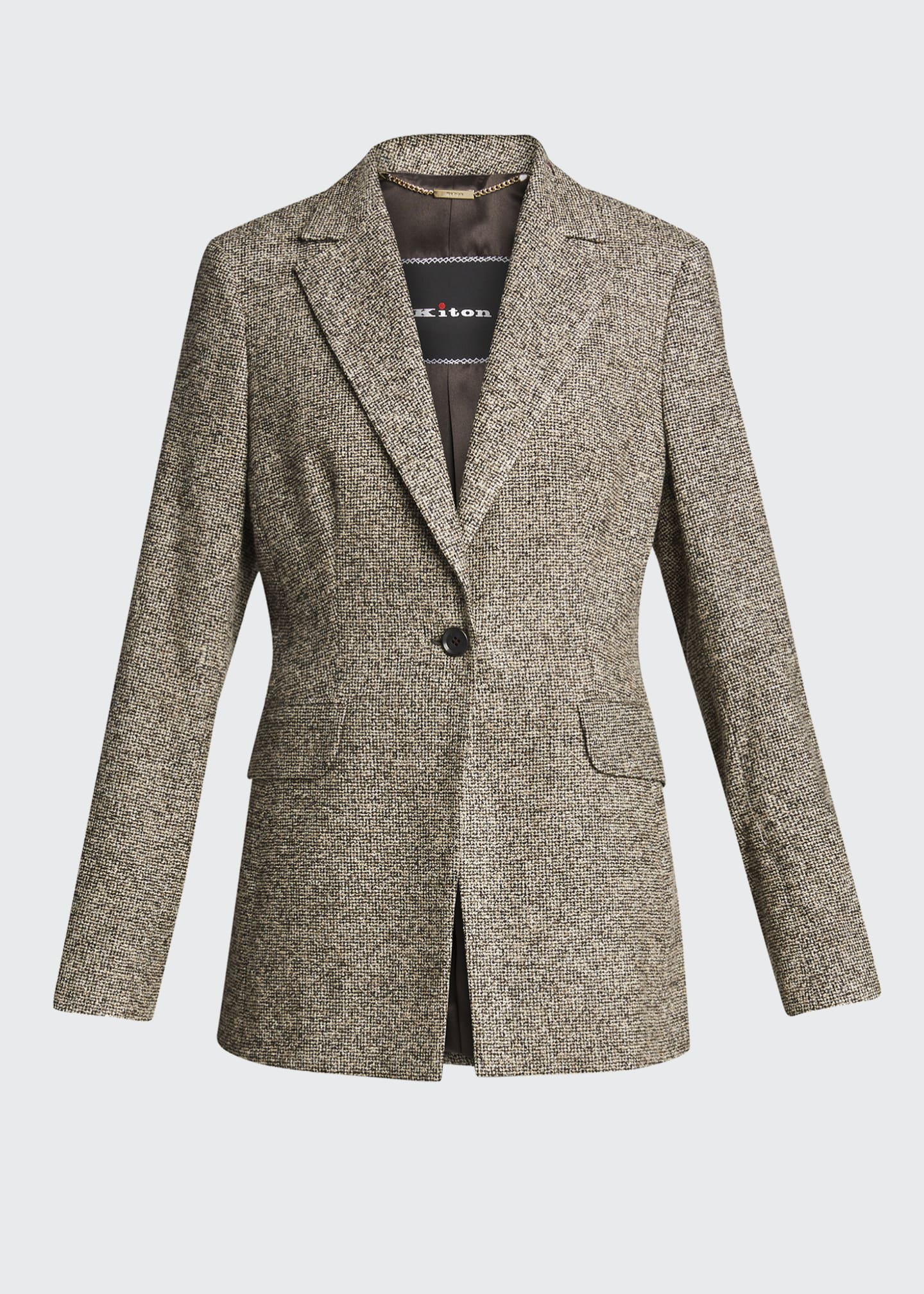 Image 5 of 5: Fitted One-Button Wool-Silk Blazer