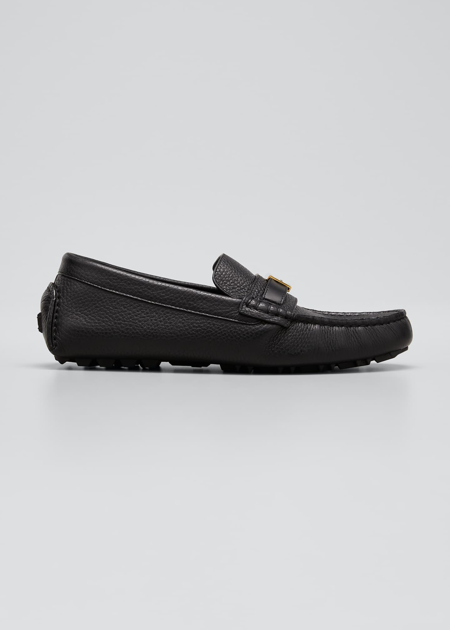 Image 1 of 3: Men's Pebbled Leather Drivers w/ FF Buckle Strap