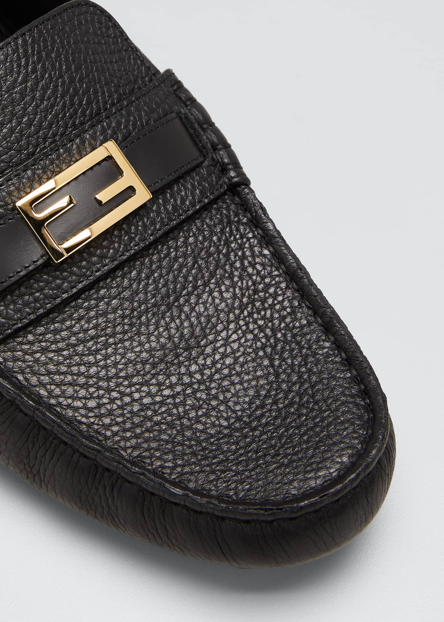 Image 3 of 3: Men's Pebbled Leather Drivers w/ FF Buckle Strap