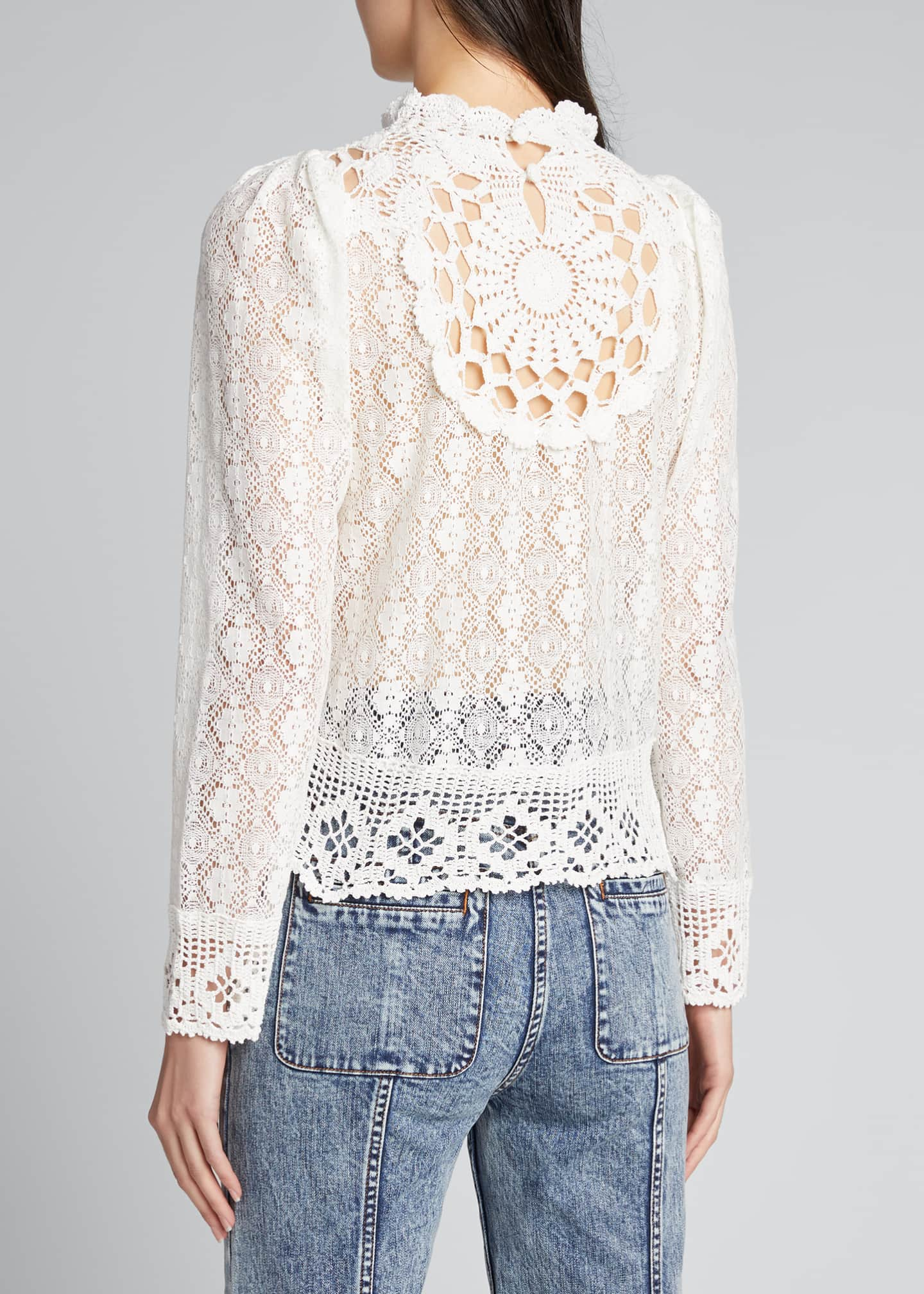 Image 2 of 5: Venice Crochet Long-Sleeve Top