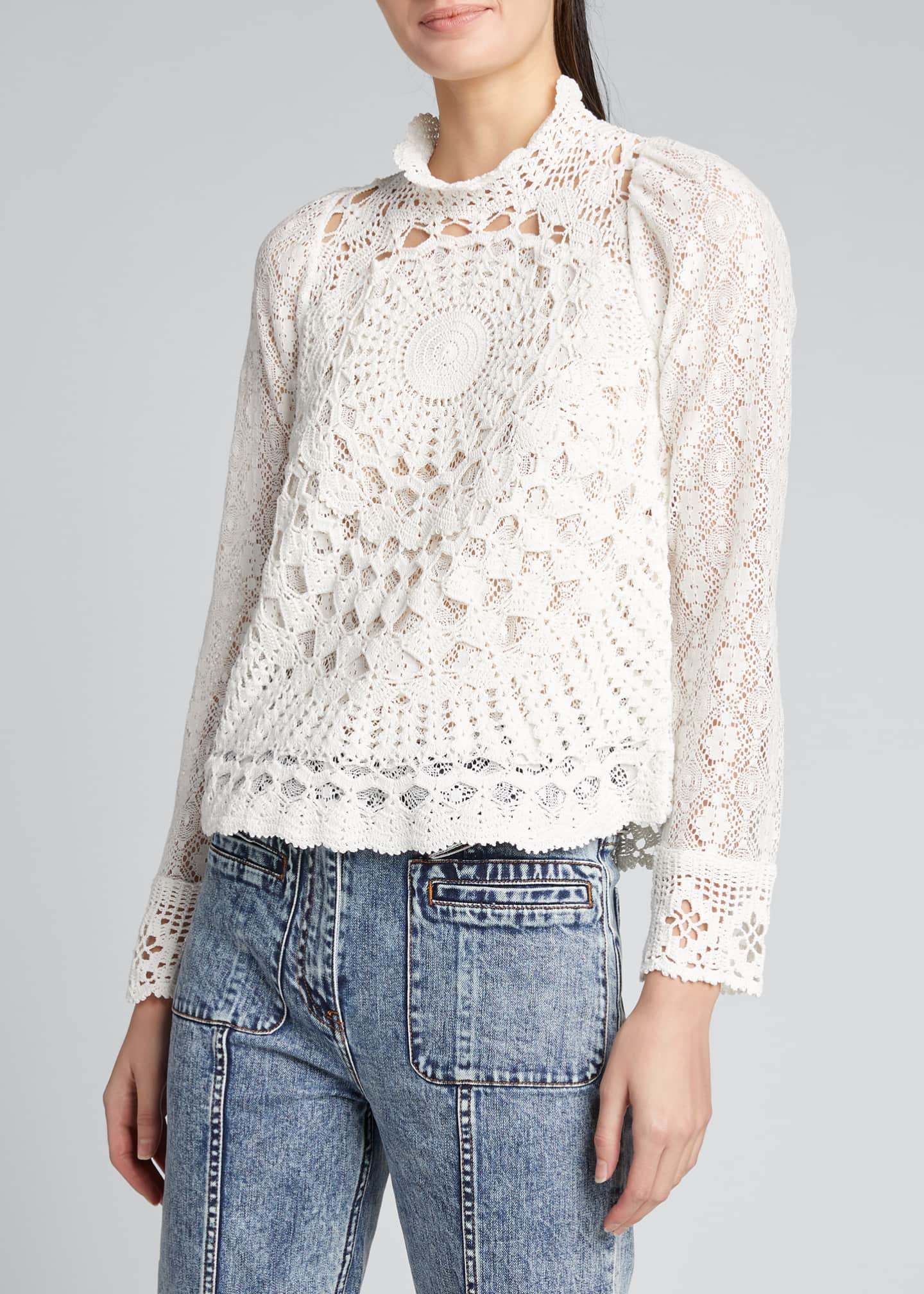 Image 3 of 5: Venice Crochet Long-Sleeve Top