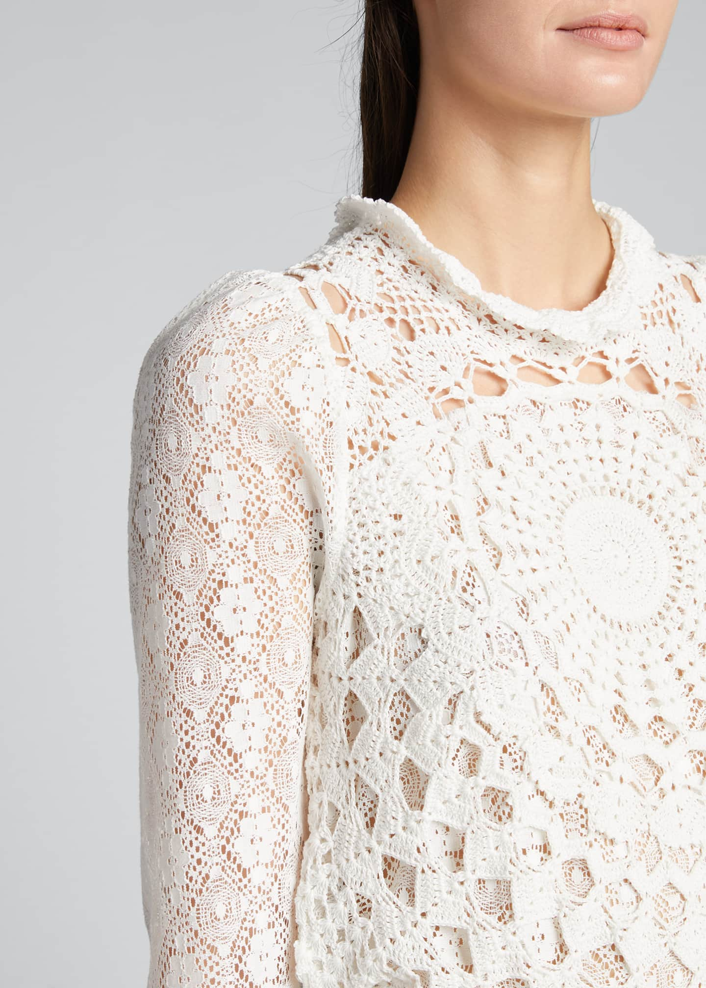 Image 4 of 5: Venice Crochet Long-Sleeve Top