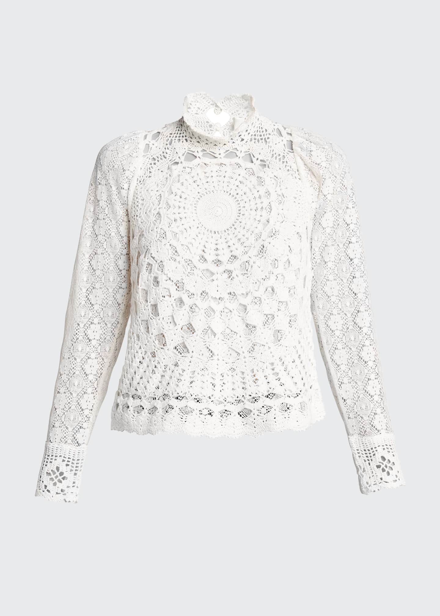 Image 5 of 5: Venice Crochet Long-Sleeve Top