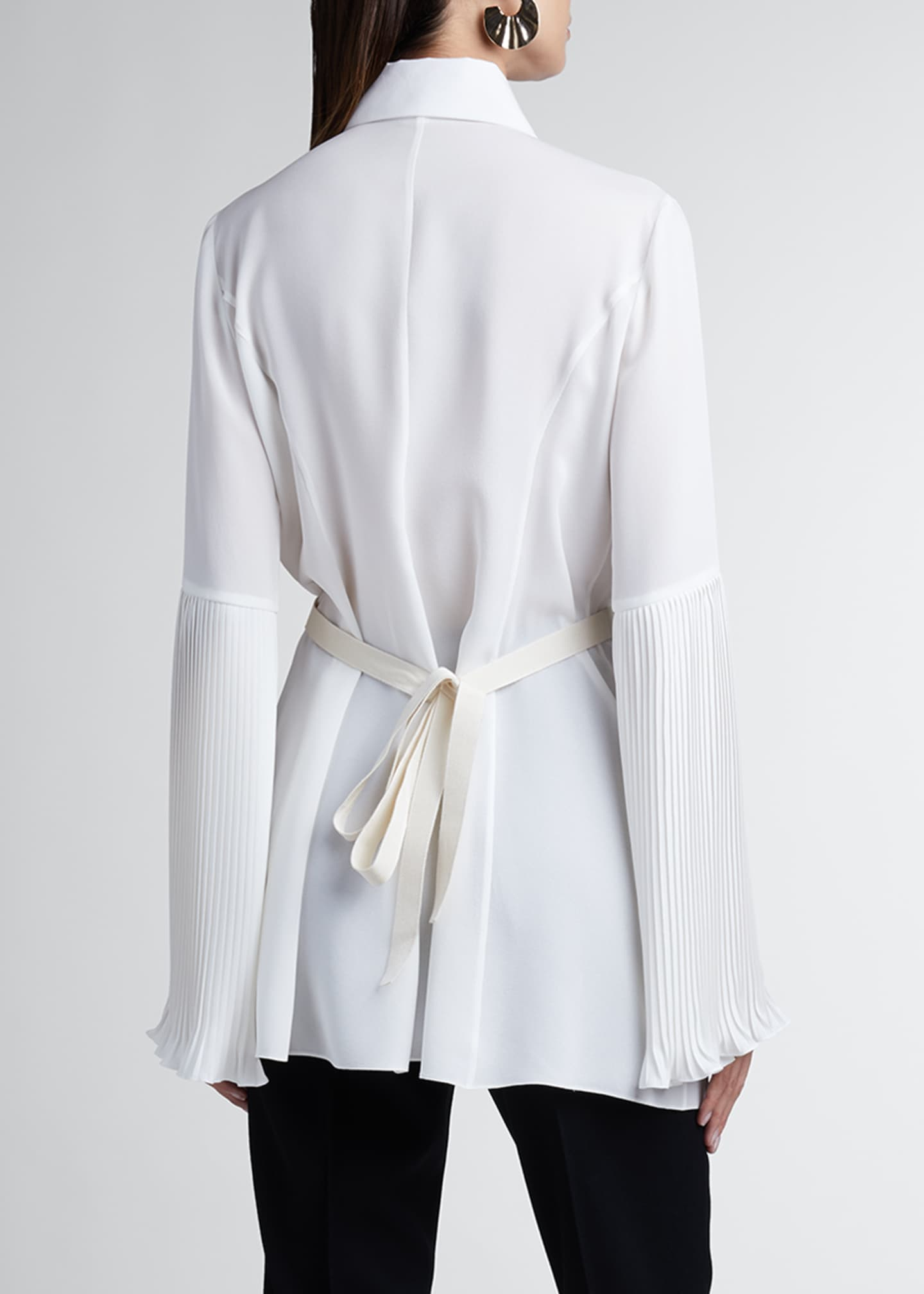 Image 2 of 3: Pleated Silk Georgette Long-Sleeve Blouse