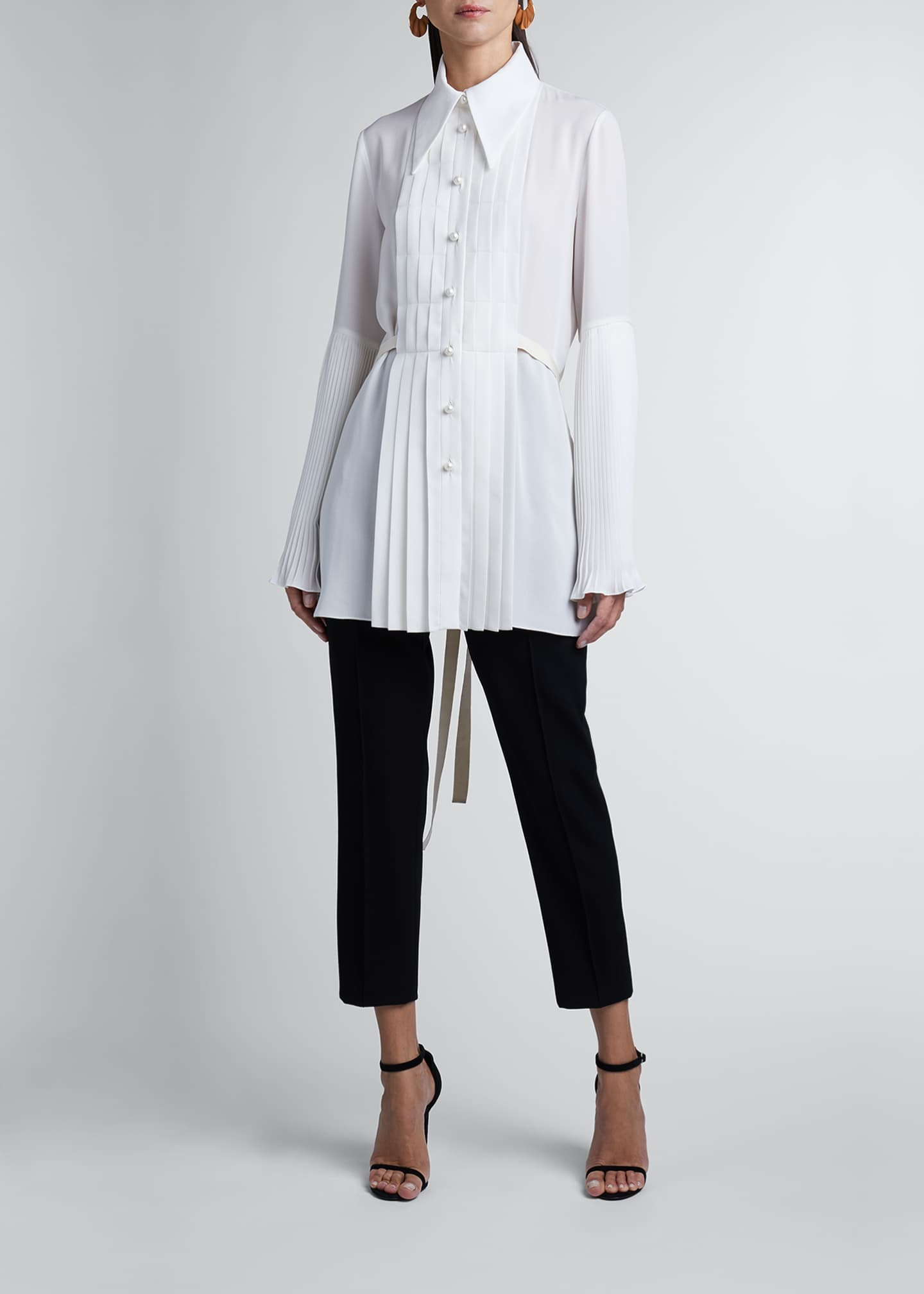 Image 1 of 3: Pleated Silk Georgette Long-Sleeve Blouse