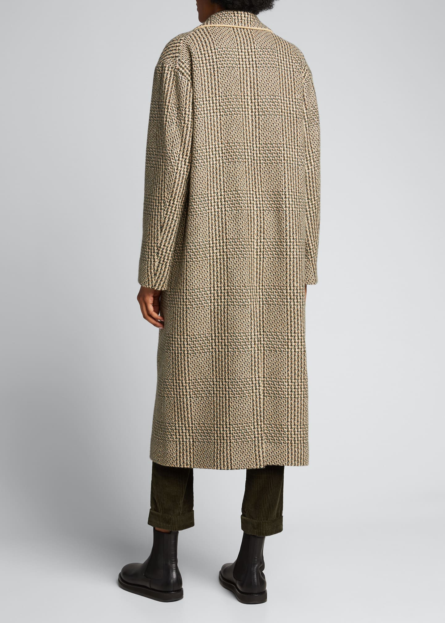 Image 2 of 5: Checked Cashmere-Wool Long Coat