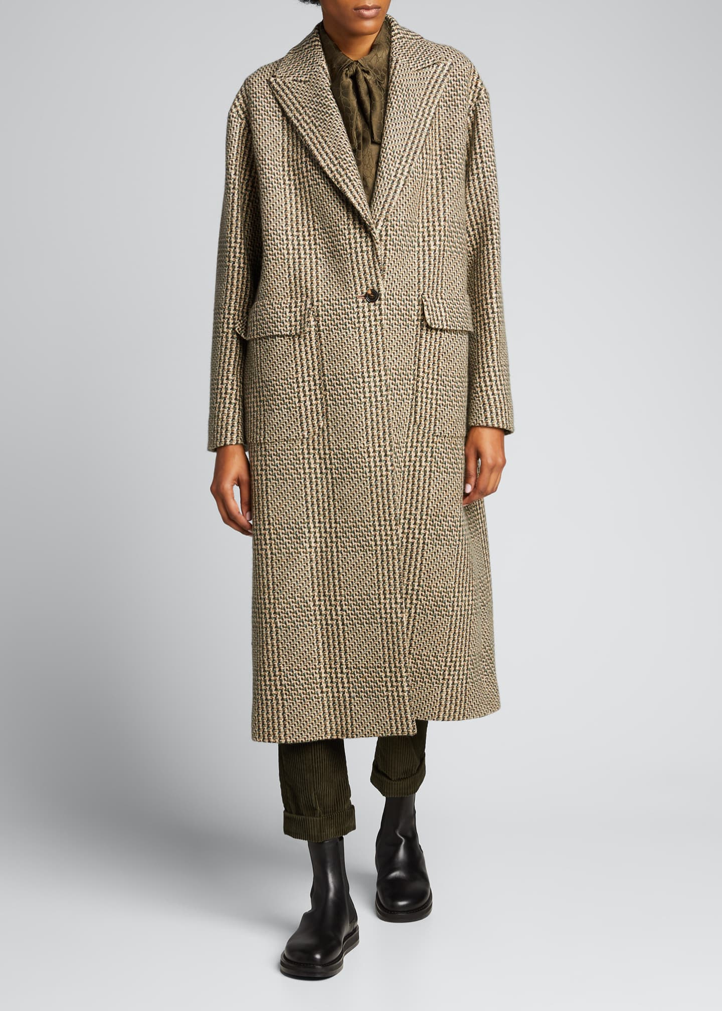 Image 3 of 5: Checked Cashmere-Wool Long Coat
