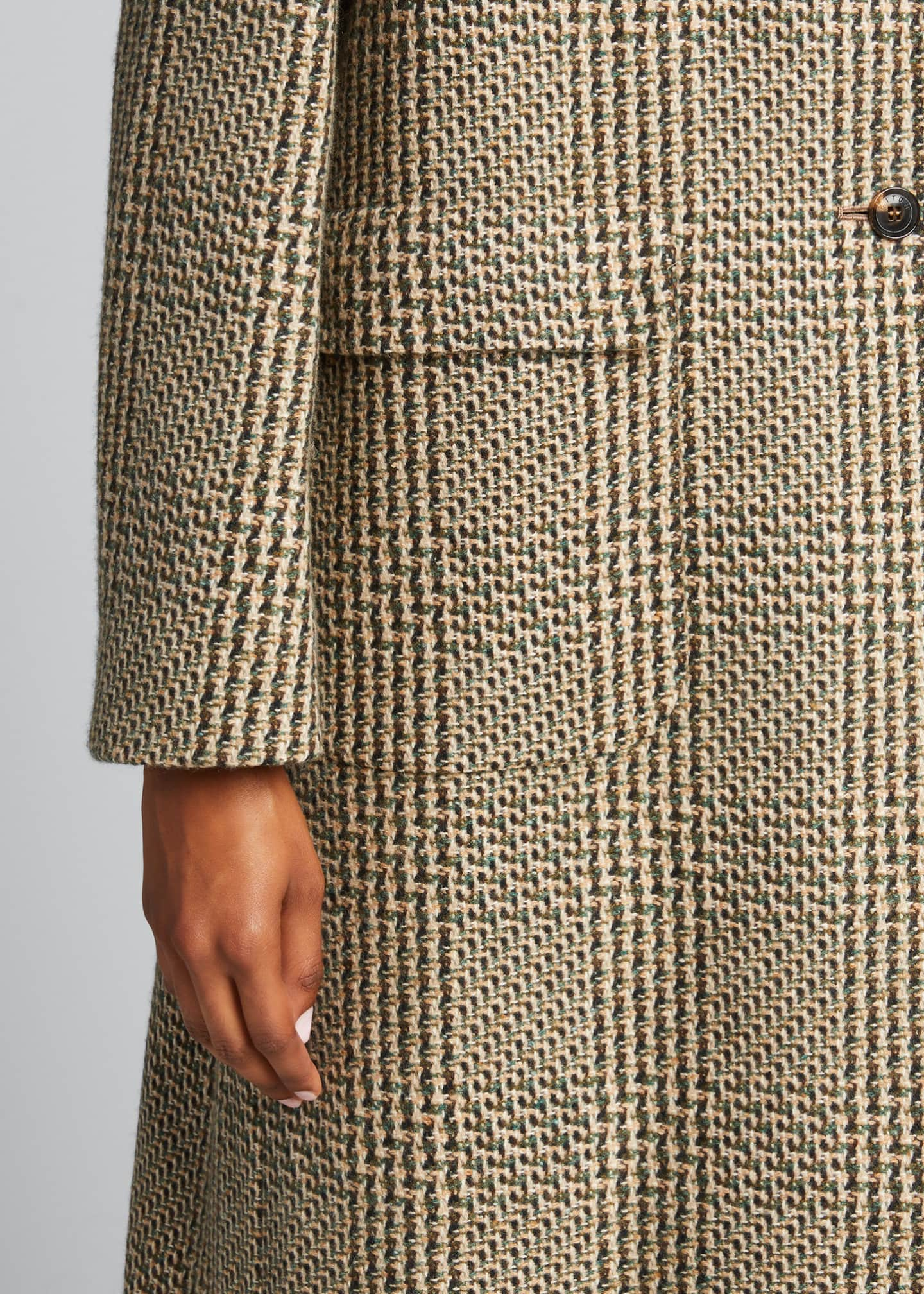 Image 4 of 5: Checked Cashmere-Wool Long Coat