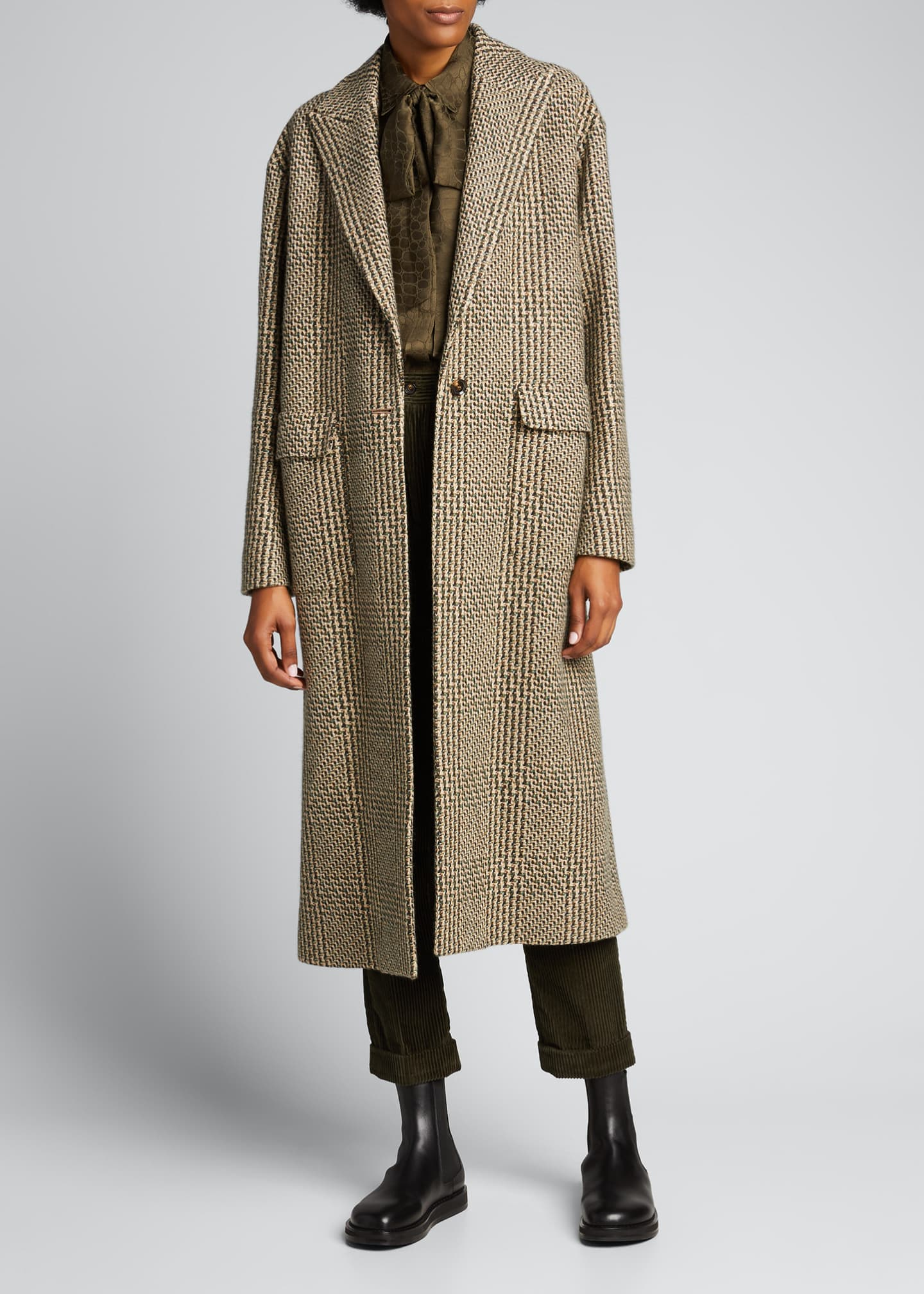Image 1 of 5: Checked Cashmere-Wool Long Coat