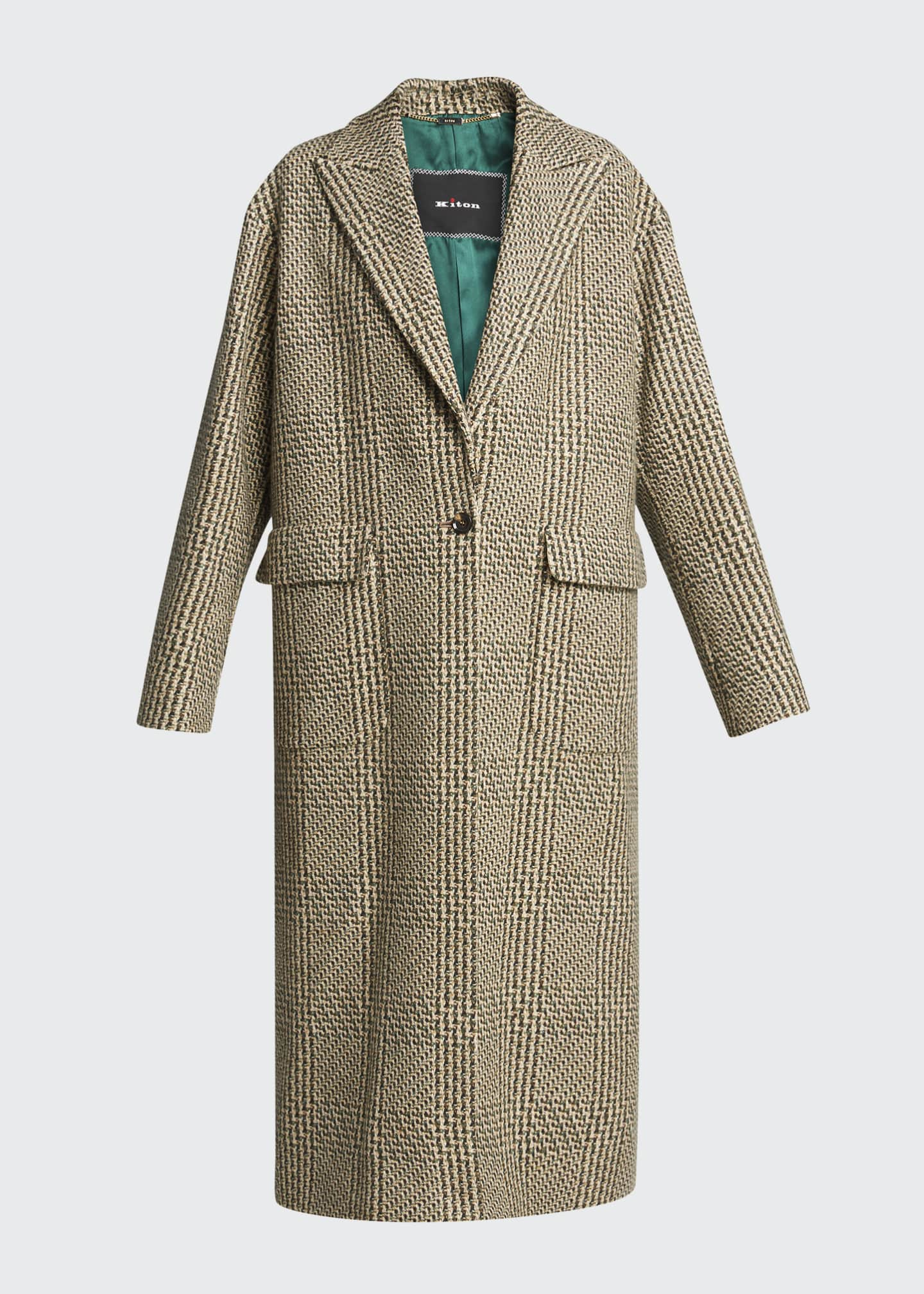 Image 5 of 5: Checked Cashmere-Wool Long Coat
