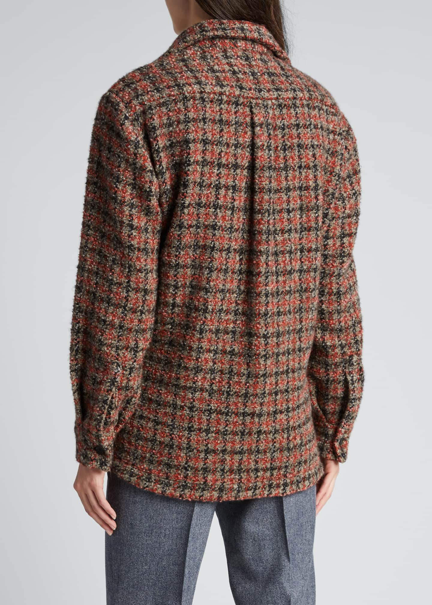 Image 2 of 5: Checked Cashmere-Blend Oversized Shirt